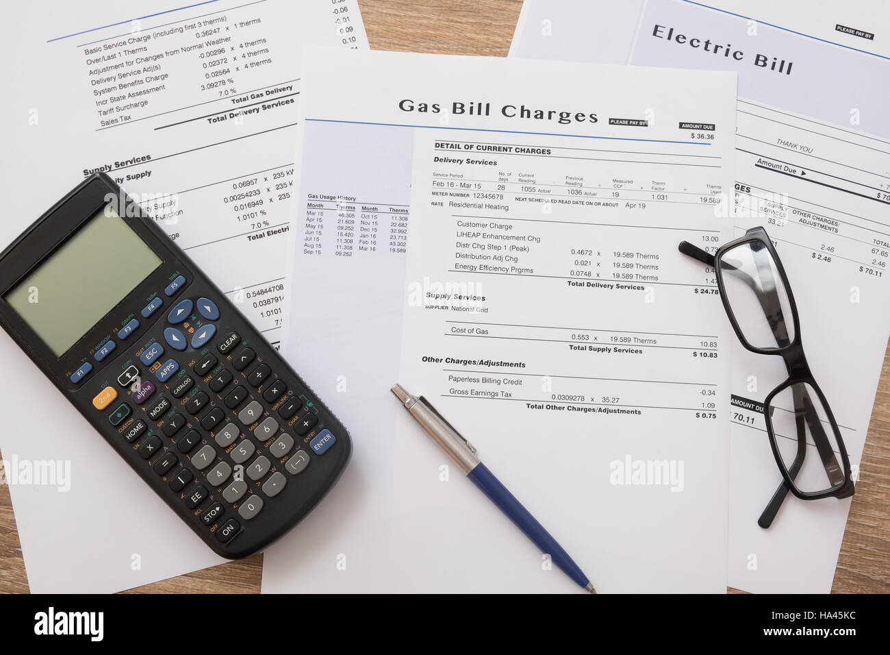 Gas bill charges paper form on the table - Stock Image