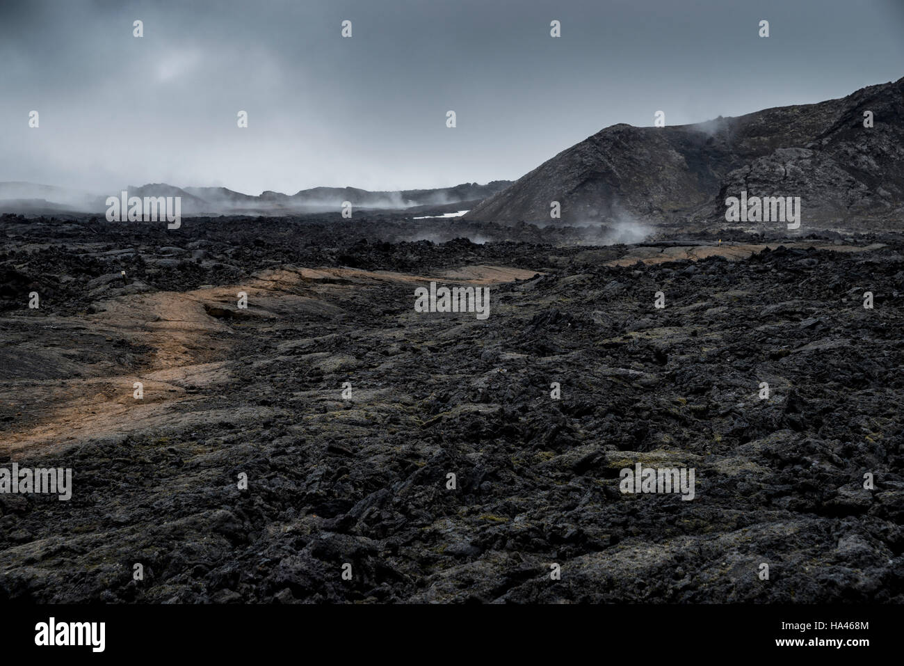 Bright path through the black smoking lava field in Iceland - Stock Image