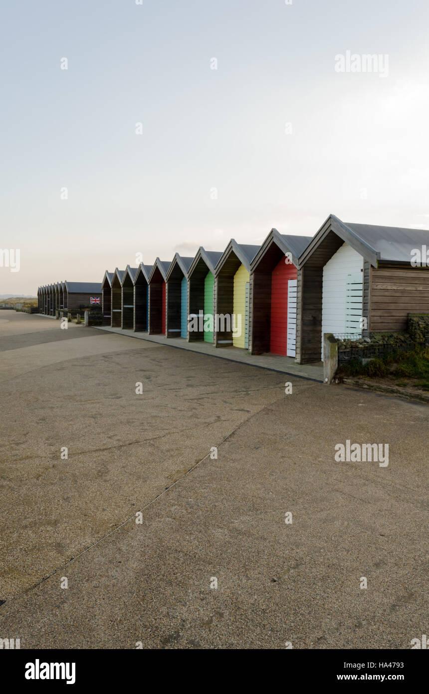 Multicoloured Beachuts at Blyth, Northumberland - Stock Image