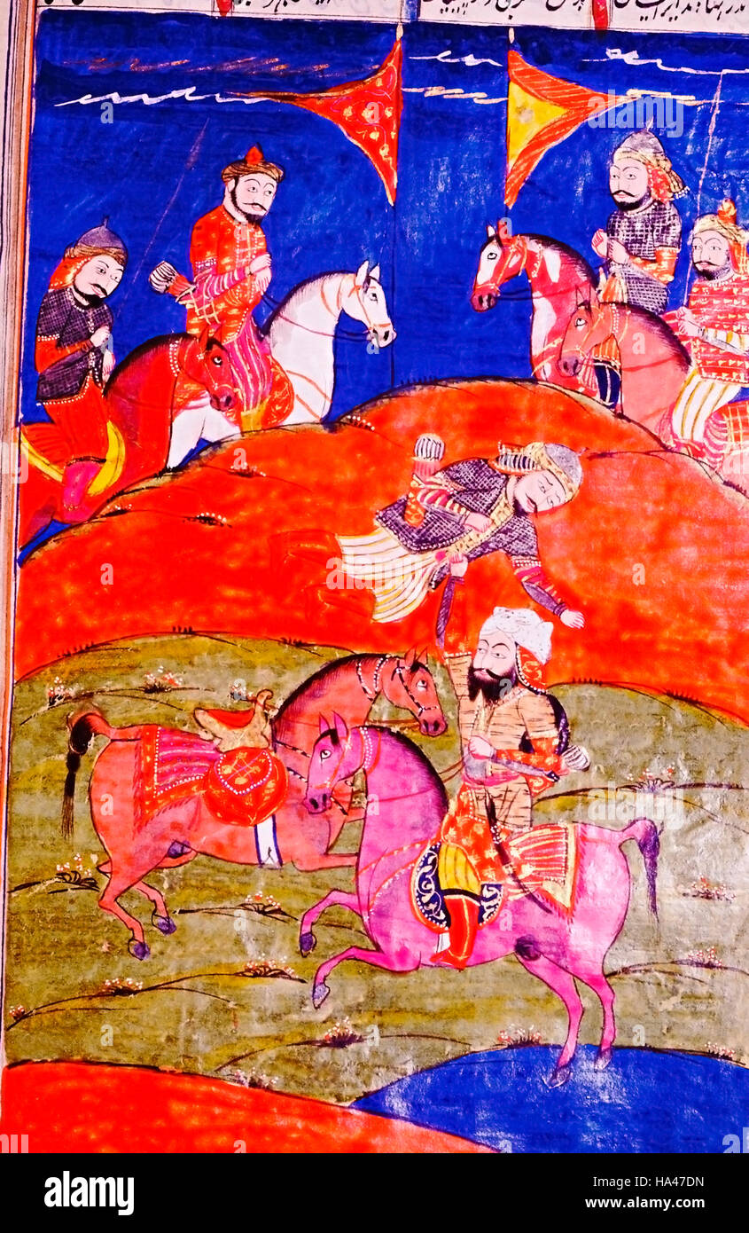 Shahnama or The Book of Kings : The King observes a fight. Epic poem by Firdausi, 934-1020 CE - Stock Image
