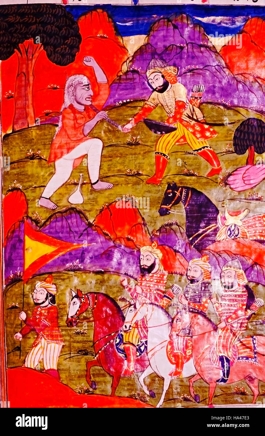 Shahnama or The Book of Kings : A sword fight. India Epic poem by Firdausi, 934-1020 CE - Stock Image