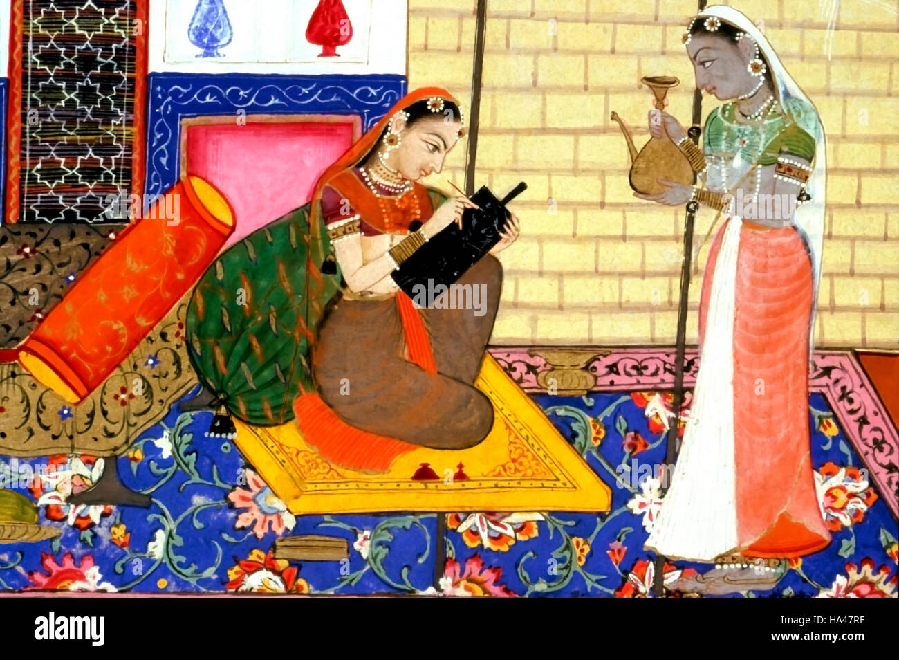 Ragamala Painting: Sanskrit poetry and Hindu romantic literature give us numerous examples of a heroine separated - Stock Image
