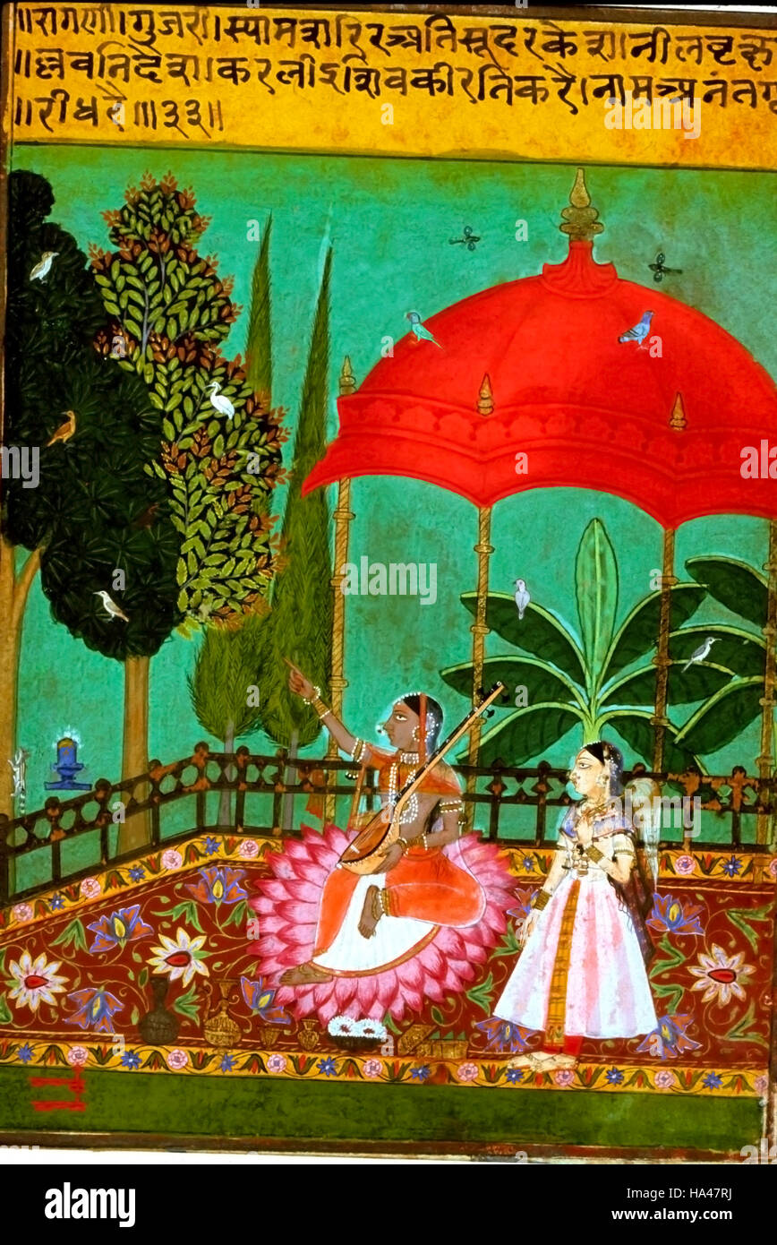 Ragamala Painting: Painting depicts a lady sings sad songs, because her absent lover is unfaithful to her. - Stock Image
