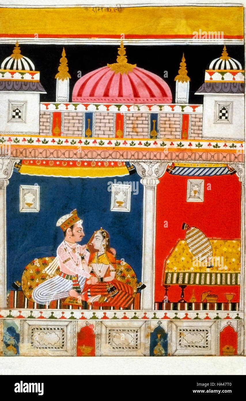 Ragamala Painting: A lady friend is consoling this ragini, lonesome for her absent lover. Located in a courtyard - Stock Image