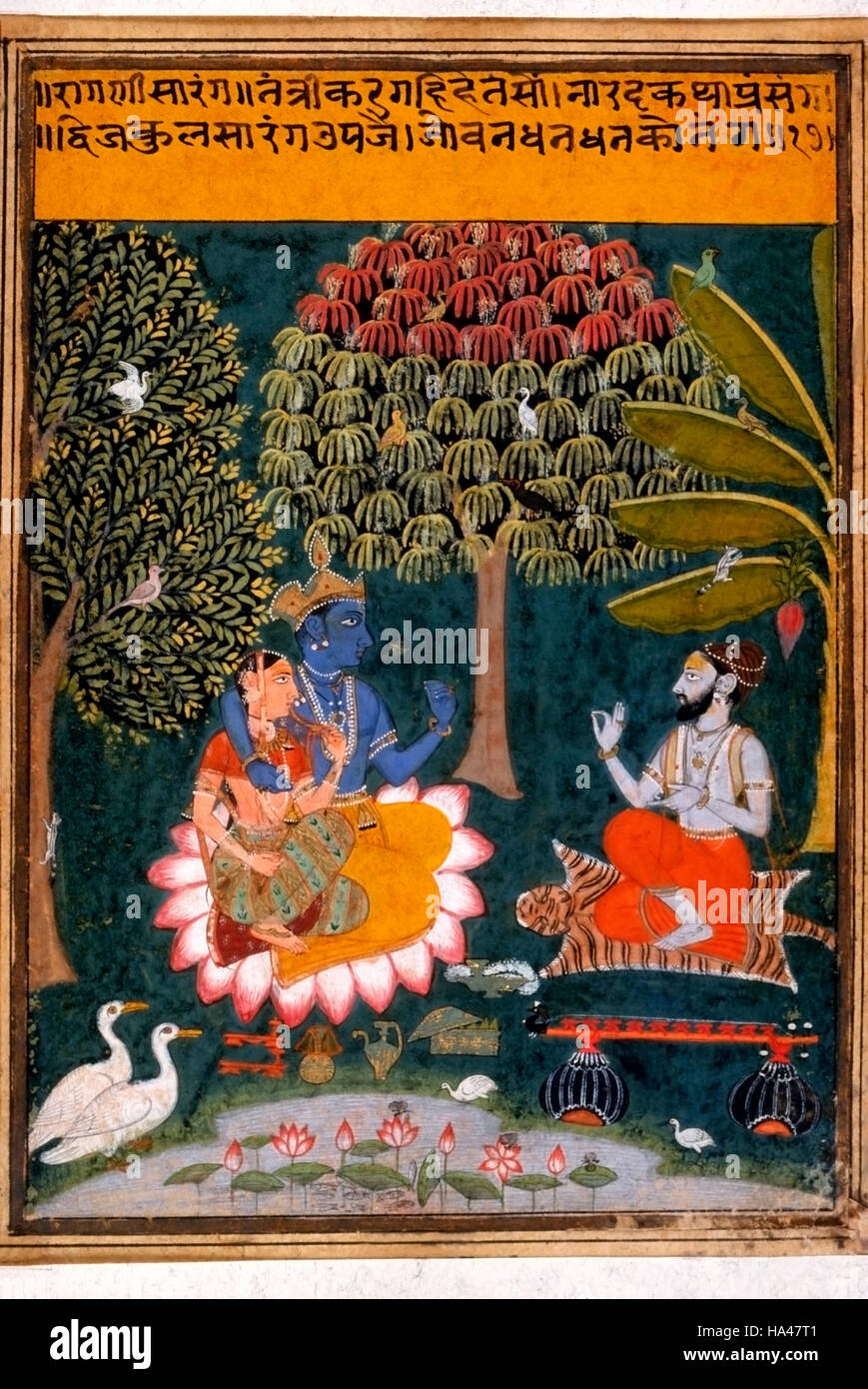 Ragamala Painting: Megha Malhar: Depicts monsoon, Krishna, the most popular Indian deities - Stock Image