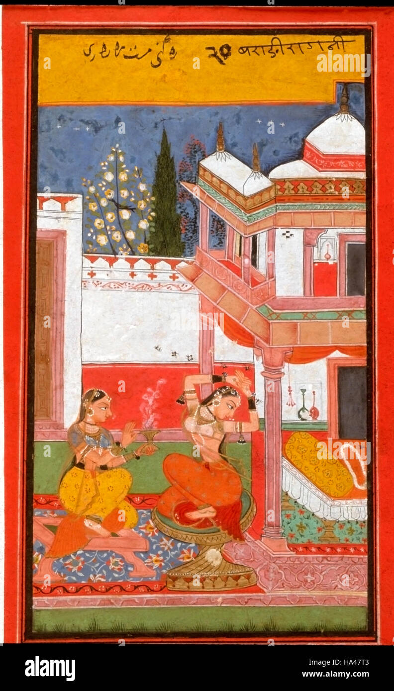 Ragamala Painting: Painting visualized as a girl separated from her lover. She goes out to meet him longing to be - Stock Image