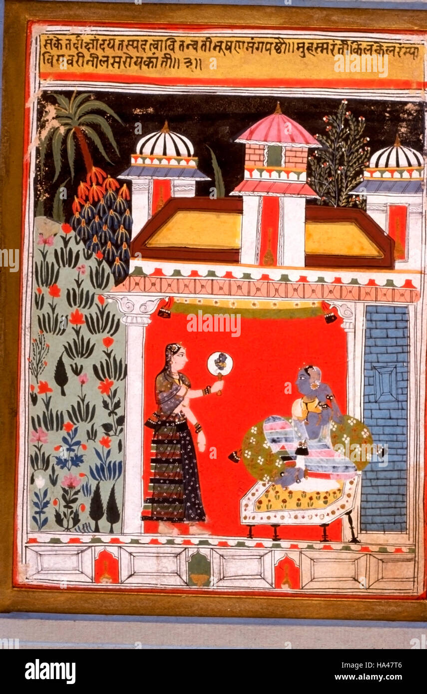 Ragamala Painting: Painting depicts a lady who is going to meet her lover. She often invokes her favorite deity, - Stock Image