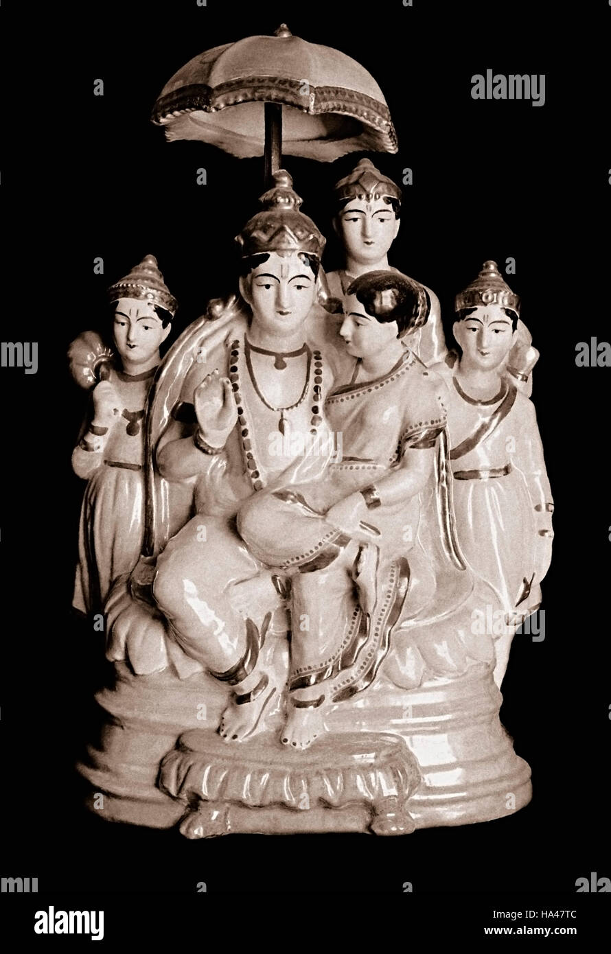 Statue of Lord Rama with his wife Sita and his brothers. - Stock Image