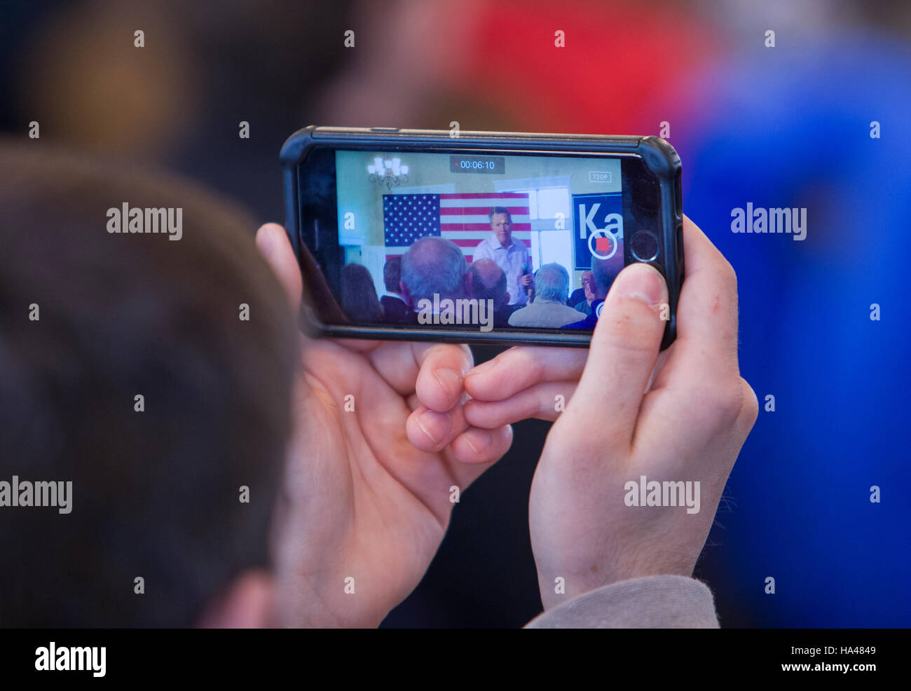 Republican Presidential candidate Ohio Governor John Kasich attends a rally in Burlington, Wisconsin Saturday April - Stock Image