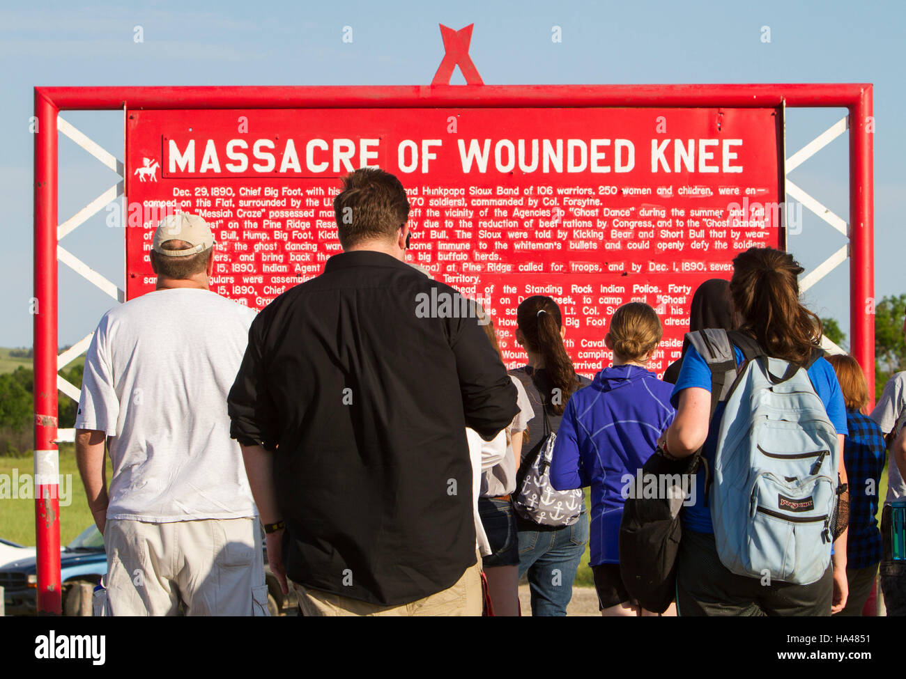 Memorial to the Wounded Knee Massacre that occurred on December 29, 1890, near Wounded Knee Creek on the Lakota Stock Photo