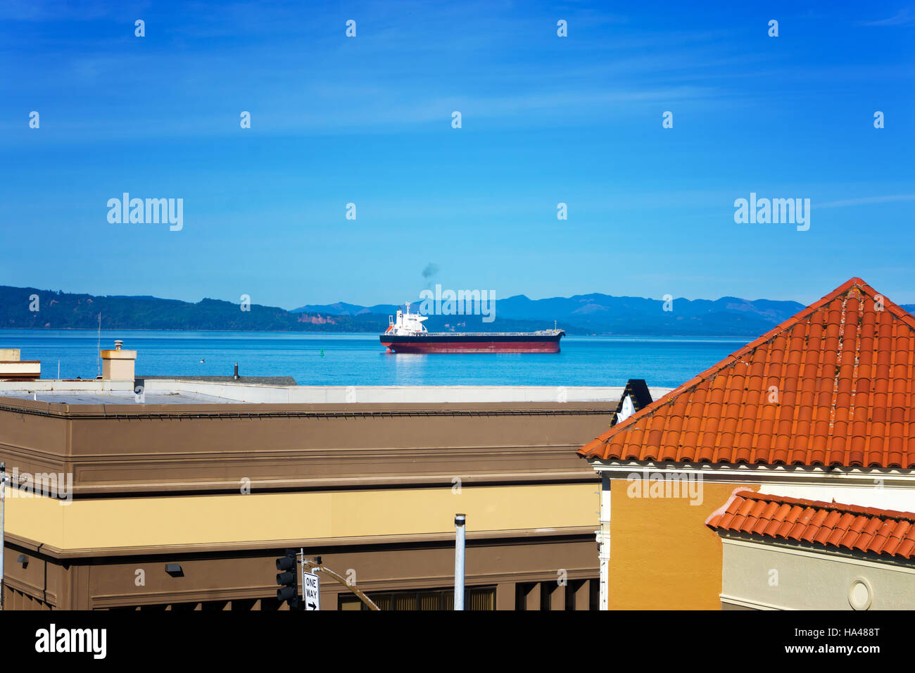 View of Astoria, Oregon, the Columbia River, and a tanker - Stock Image