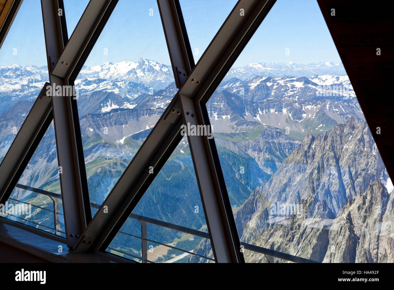 Valle d'Aosta Italy refuge punta Herbronner Monte Bianco Italy summer - Stock Image