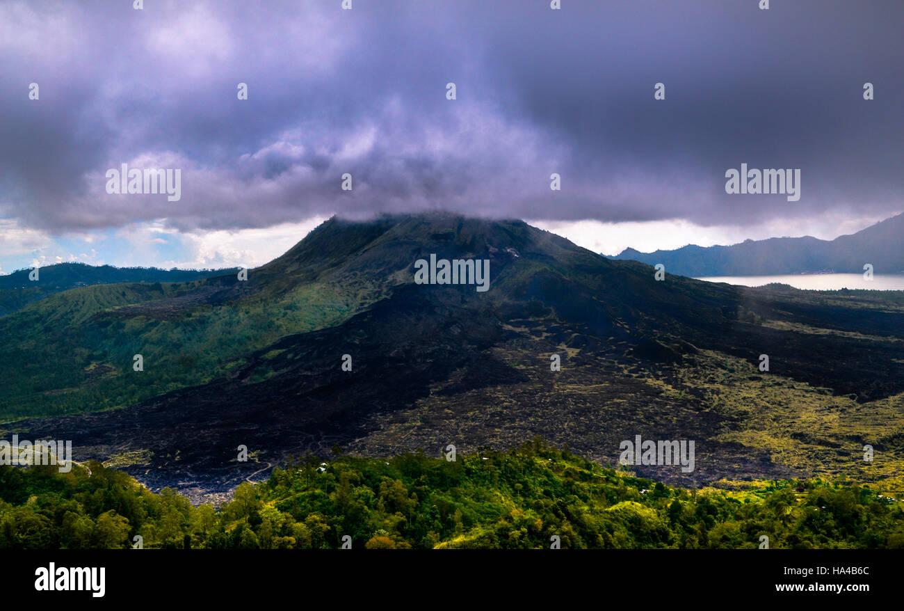 mount batur active volcano bali indonesia - Stock Image