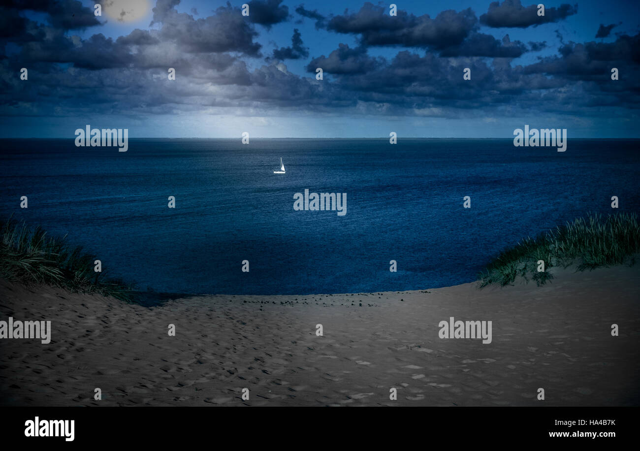 nida beach night sea trip - Stock Image