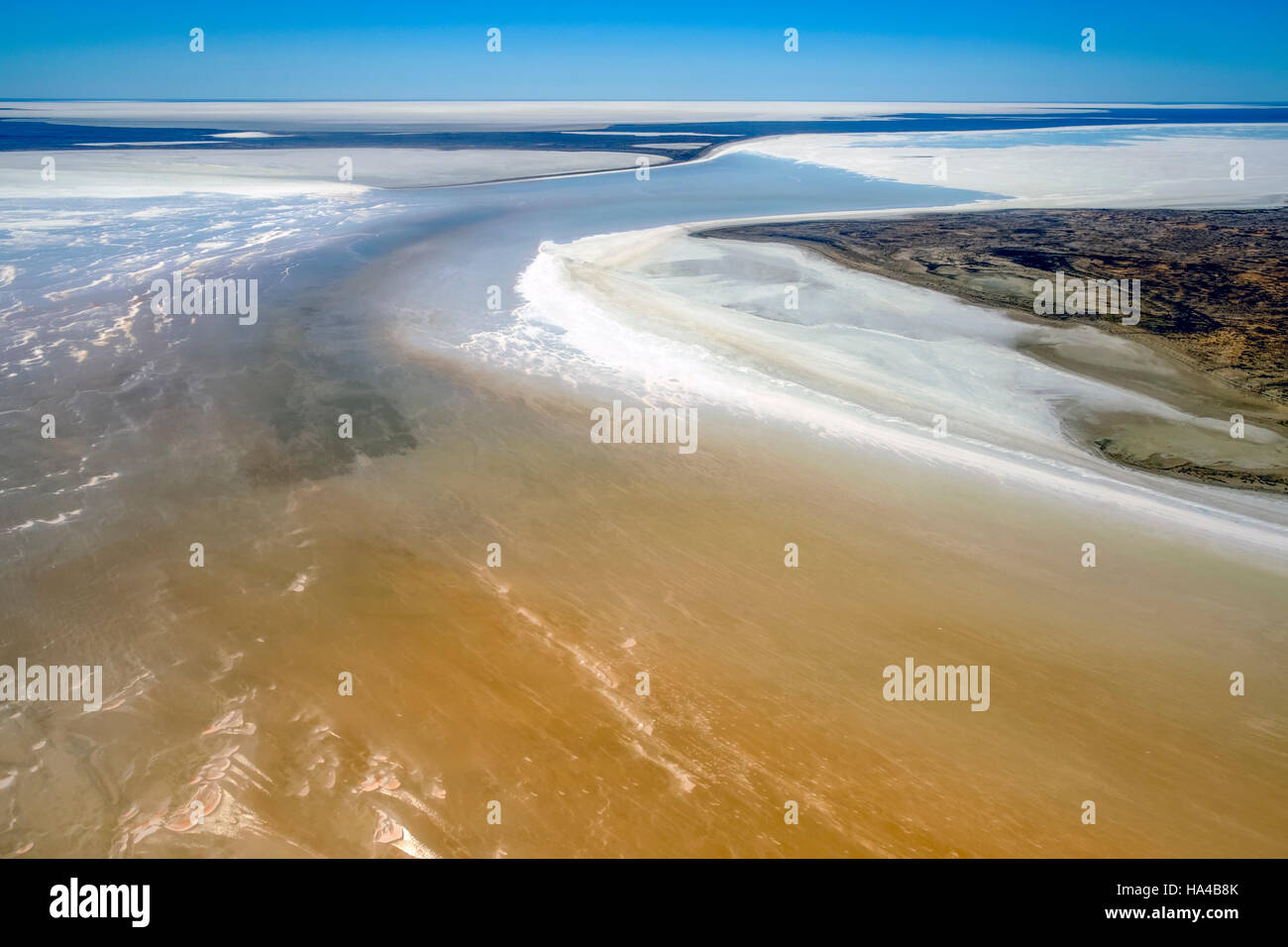 An aerial view of the rare flooding of Kati Thanda - Lake Eyre in the Australian Outback - Stock Image
