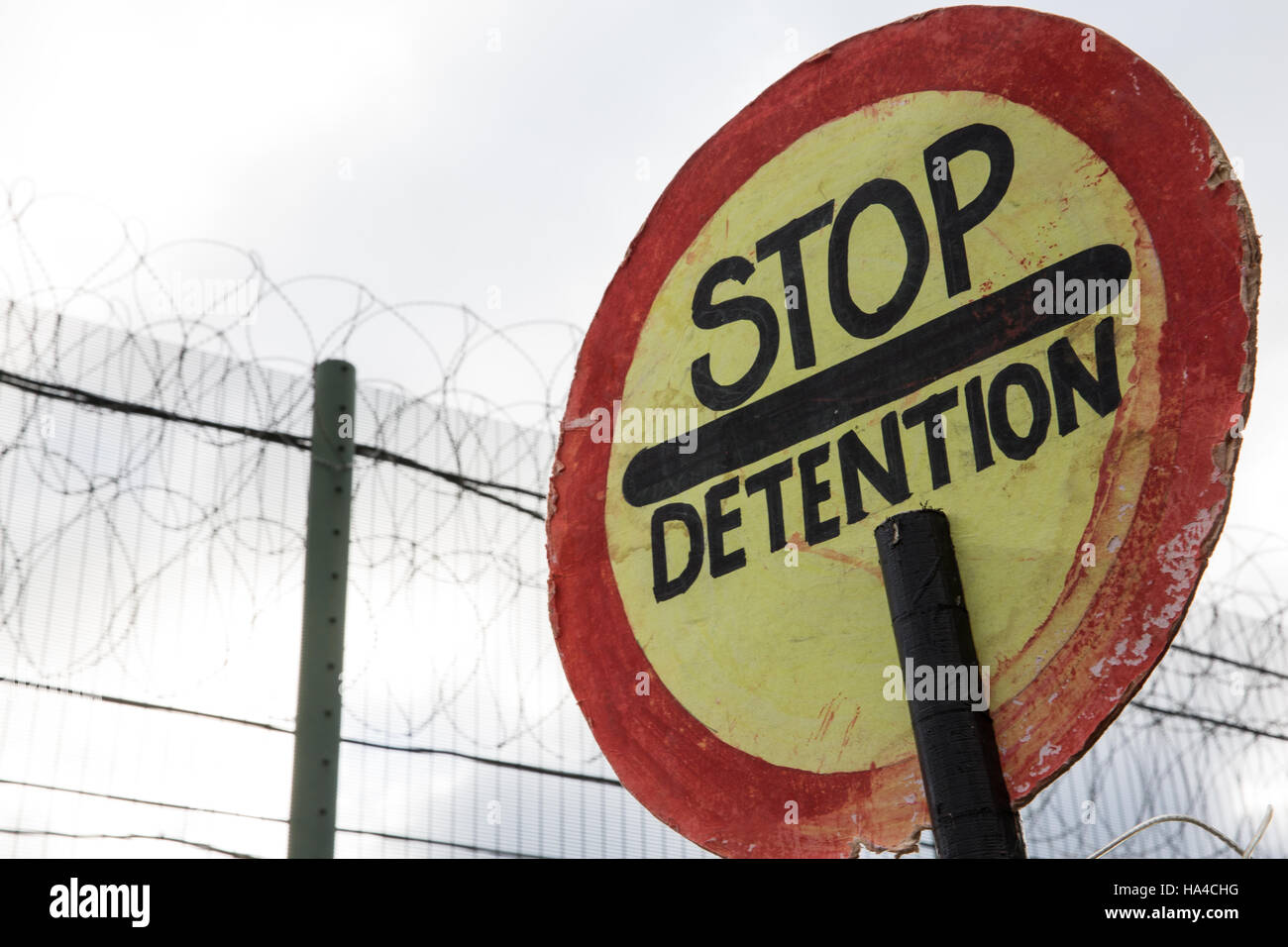 a stop detention sign brought by campaigners against immigration detention protesting outside campsfield house immigration removal centre on the 23rd