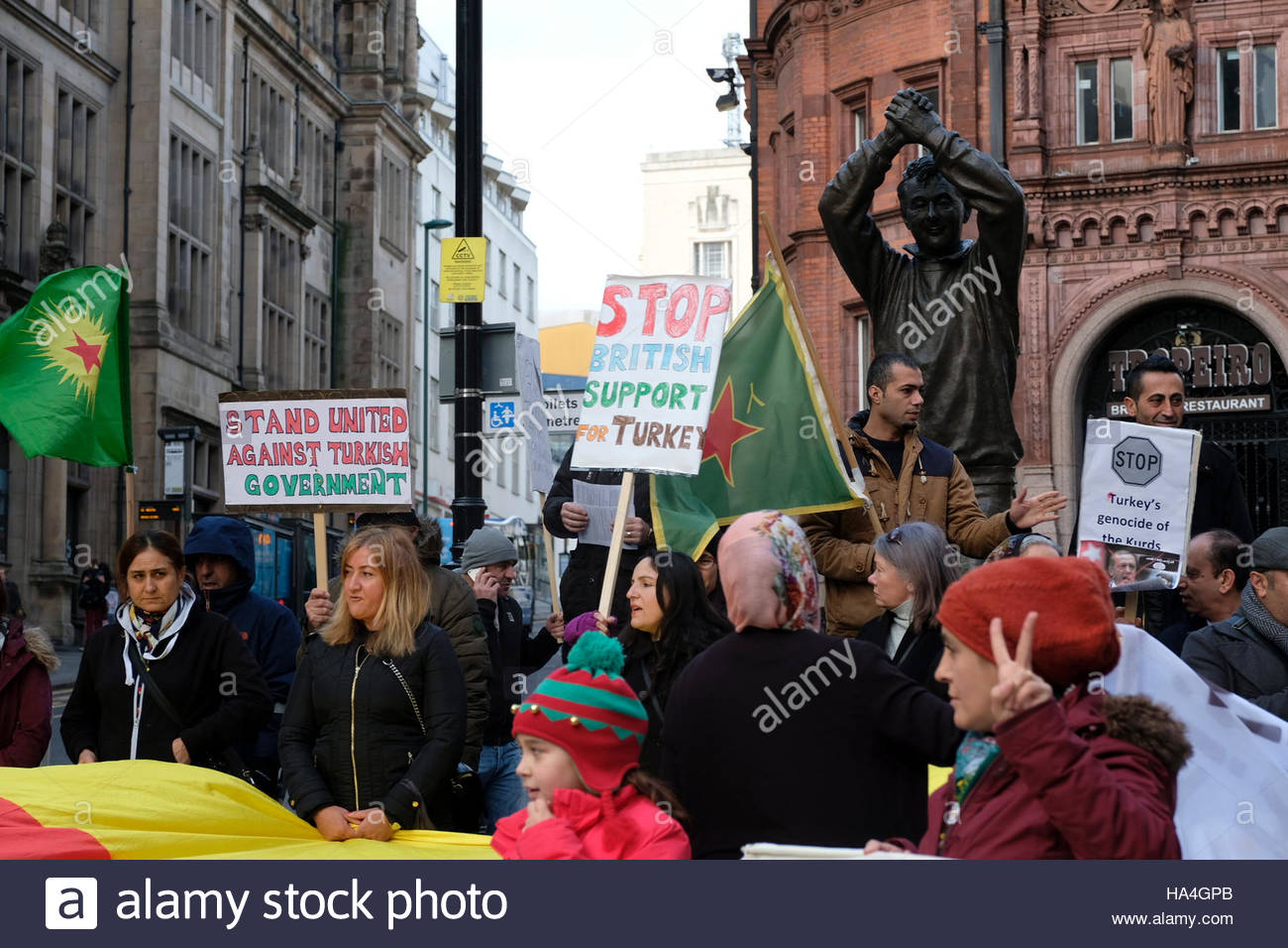 Nottingham, England, 27 November 2016  Protest against Turkey's treatment of Kurds and the denial of free speech - Stock Image