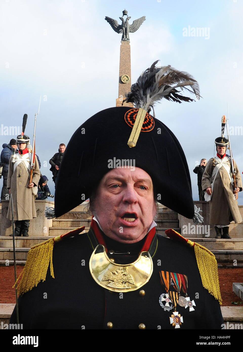 MINSK REGION, BELARUS - NOVEMBER 27, 2016: A reenactment of the 1812 Battle of the Berezina River in the village - Stock Image