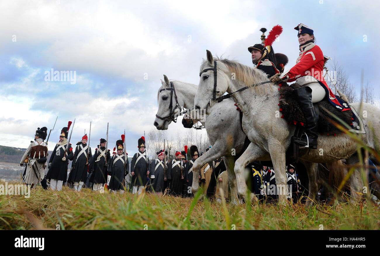 Minsk Region, Belarus. 27th Nov, 2016. A reenactment of the 1812 Battle of the Berezina River between Russia and - Stock Image