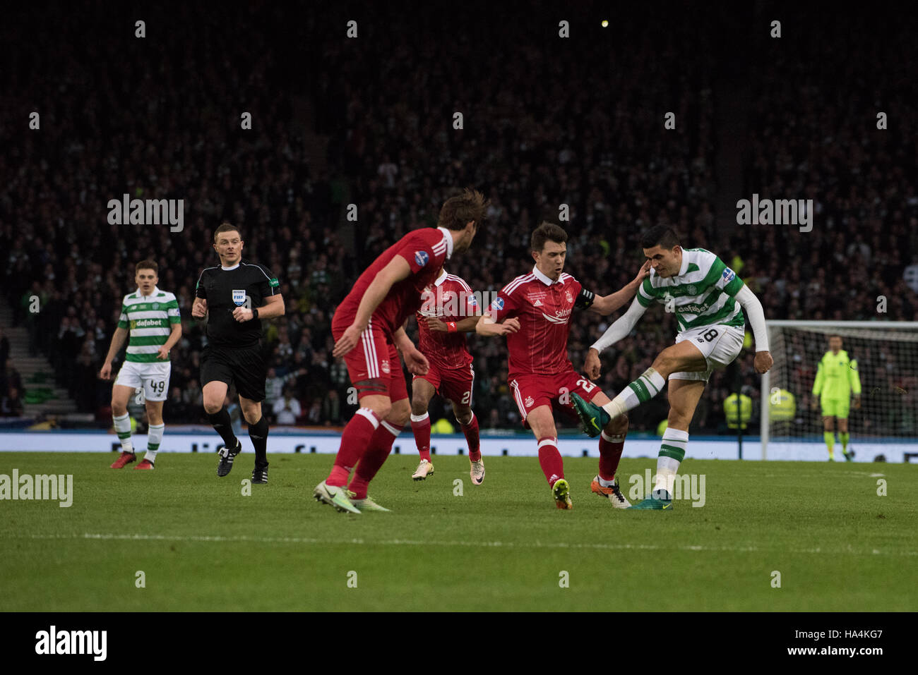 Aberdeen v Celtic, Betrfred League Cup Final, Glasgow, UK. 27th Nov, 2016.  Tom Rogic attacks Aberdeen defence Credit: - Stock Image