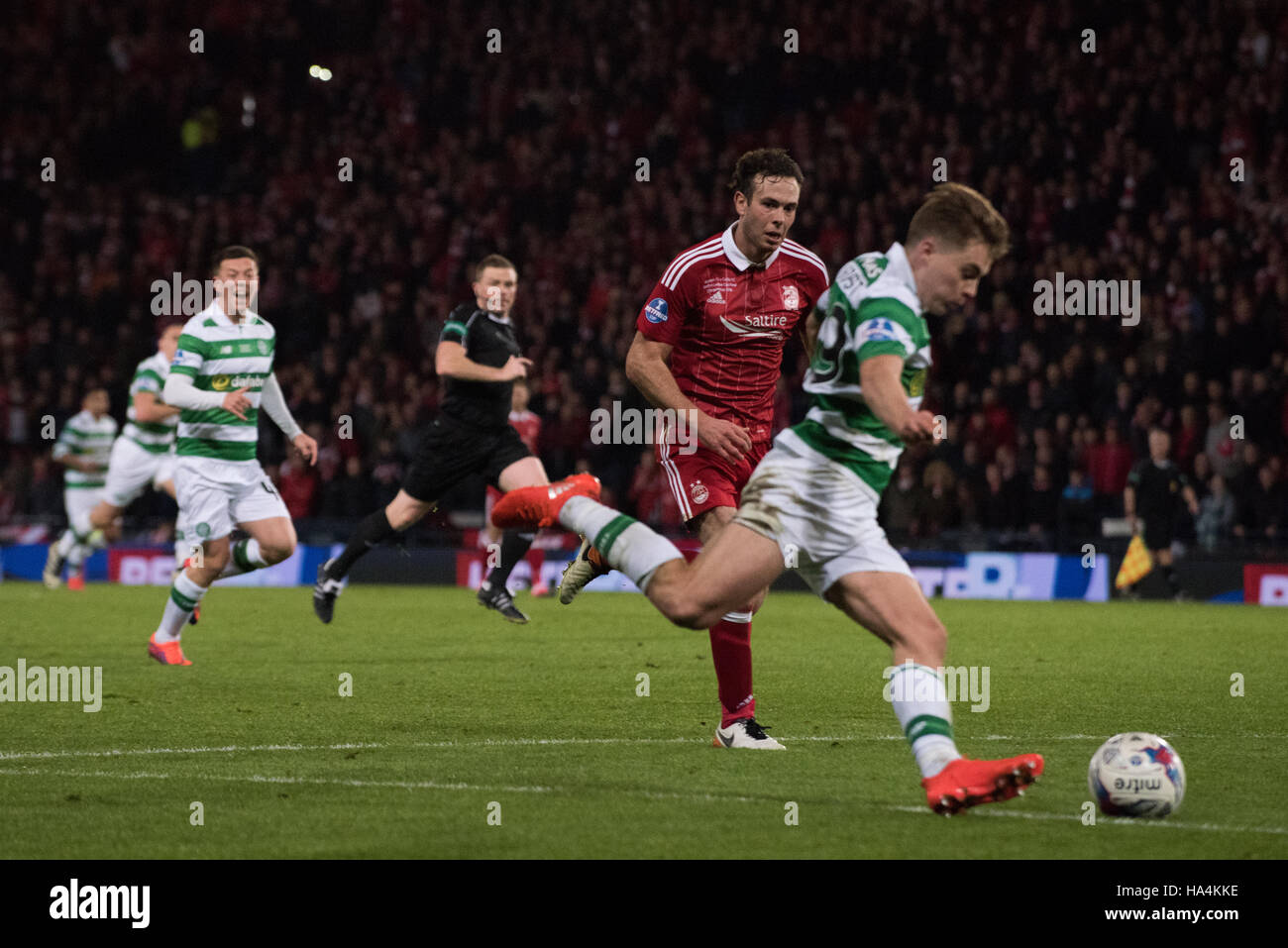 Celtic v Aberdeen; Betrfred League Cup Final, Glasgow, UK. 27th Nov, 2016.  James Forrest on the attack Credit: - Stock Image