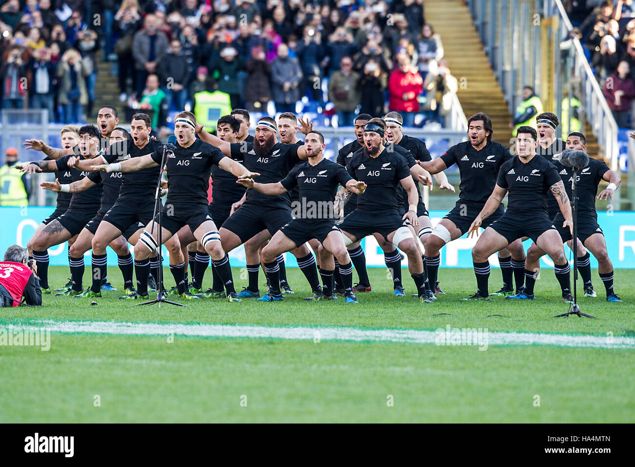 Roma ITALY - 12 November 2016 - Rugby - Stadio Olimpico in Roma  - Rugby Test Match - Italy  New Zealand - New Zealand Stock Photo