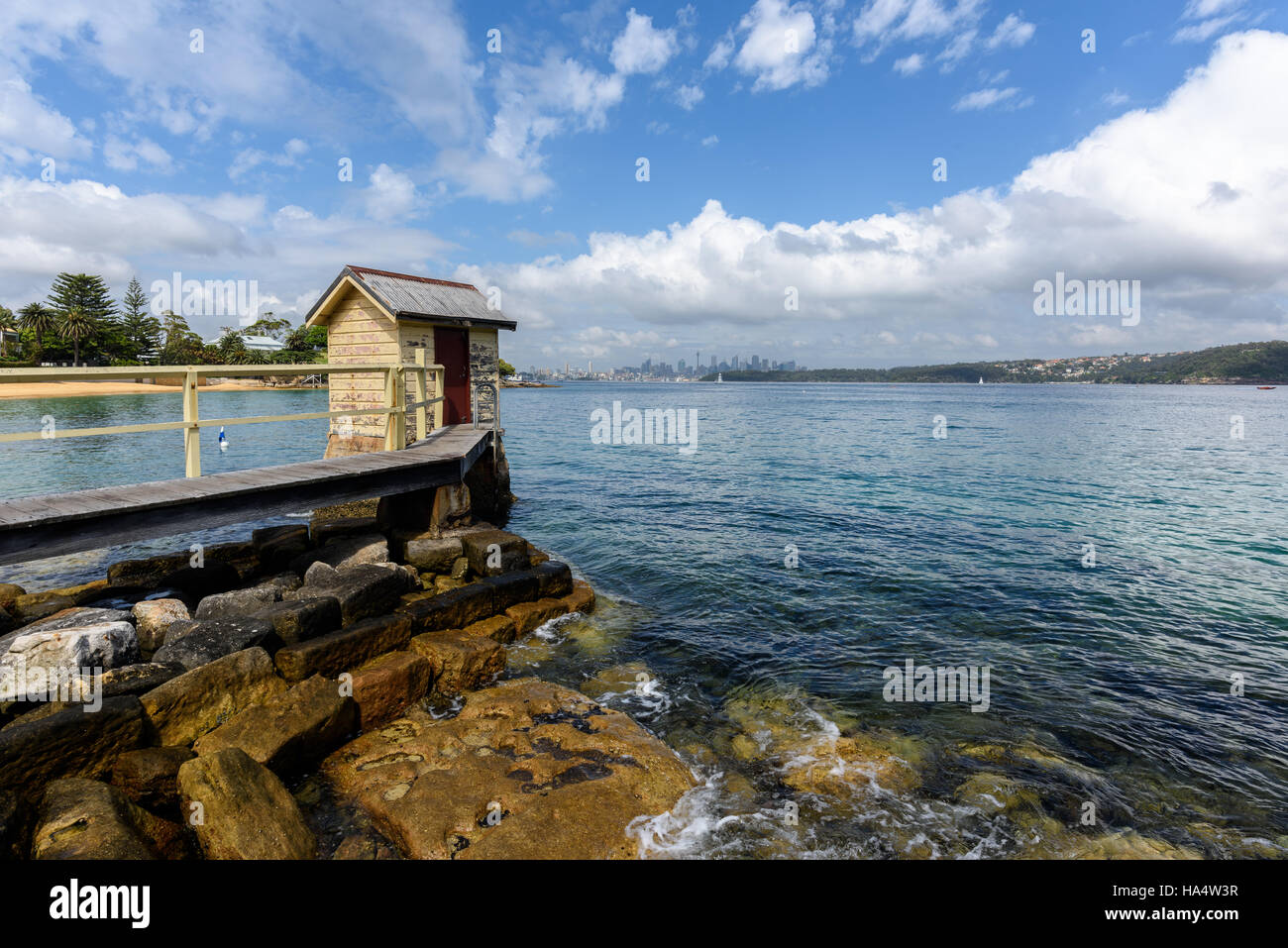 View across Sydney harbor from Watsons Bay towards the city - Stock Image