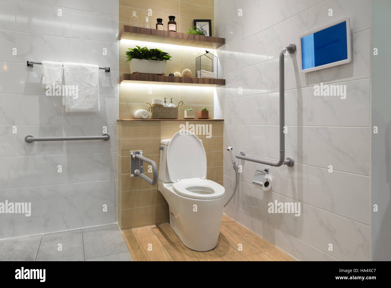 Interior of bathroom for the disabled or elderly people. Handrail