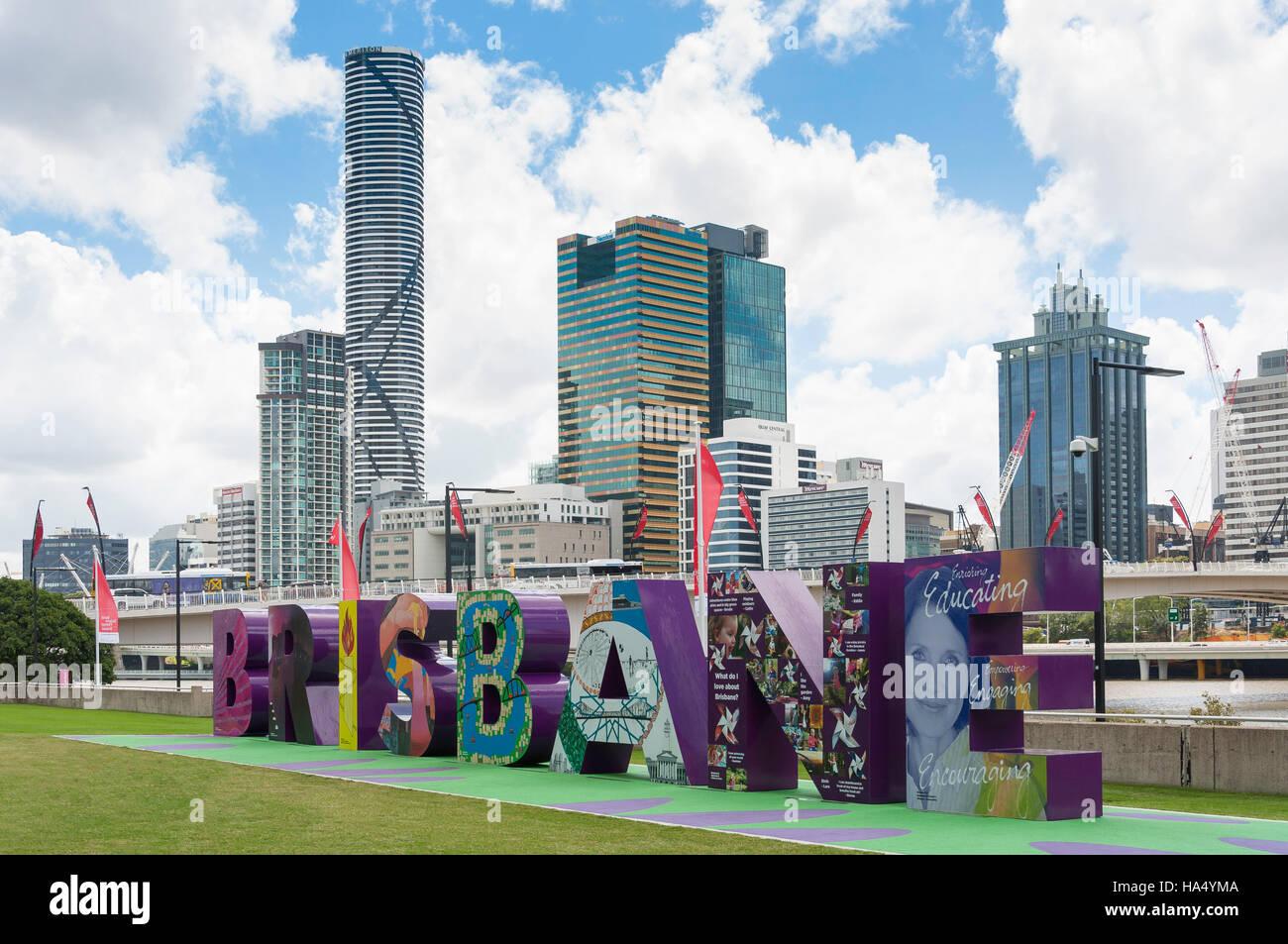 Brisbane G20 sign with CBD behind, South Bank Parklands, South Bank, Brisbane, Queensland, Australia - Stock Image