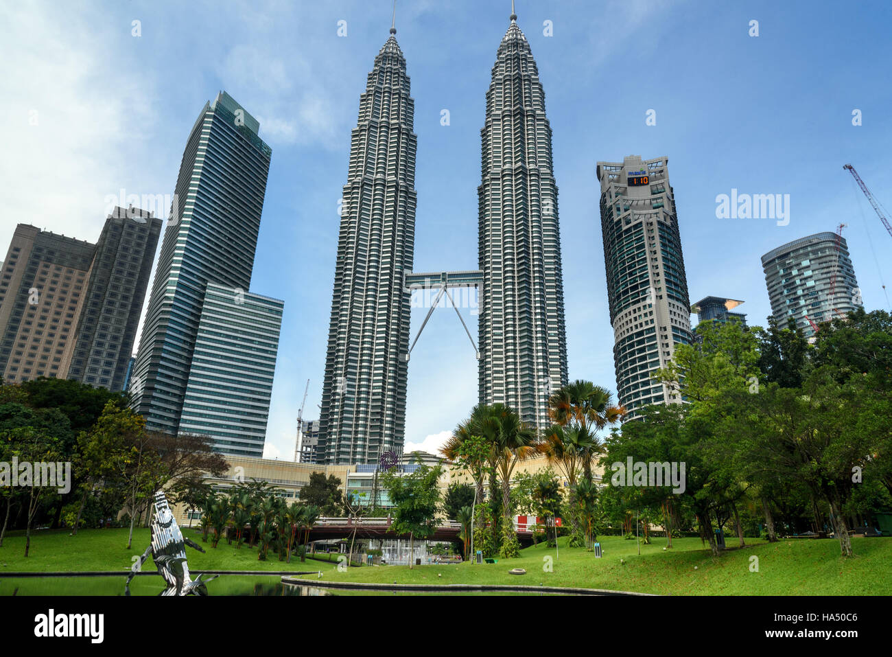 Petronas Twin Towers  View from KLCC  Park The skyscraper