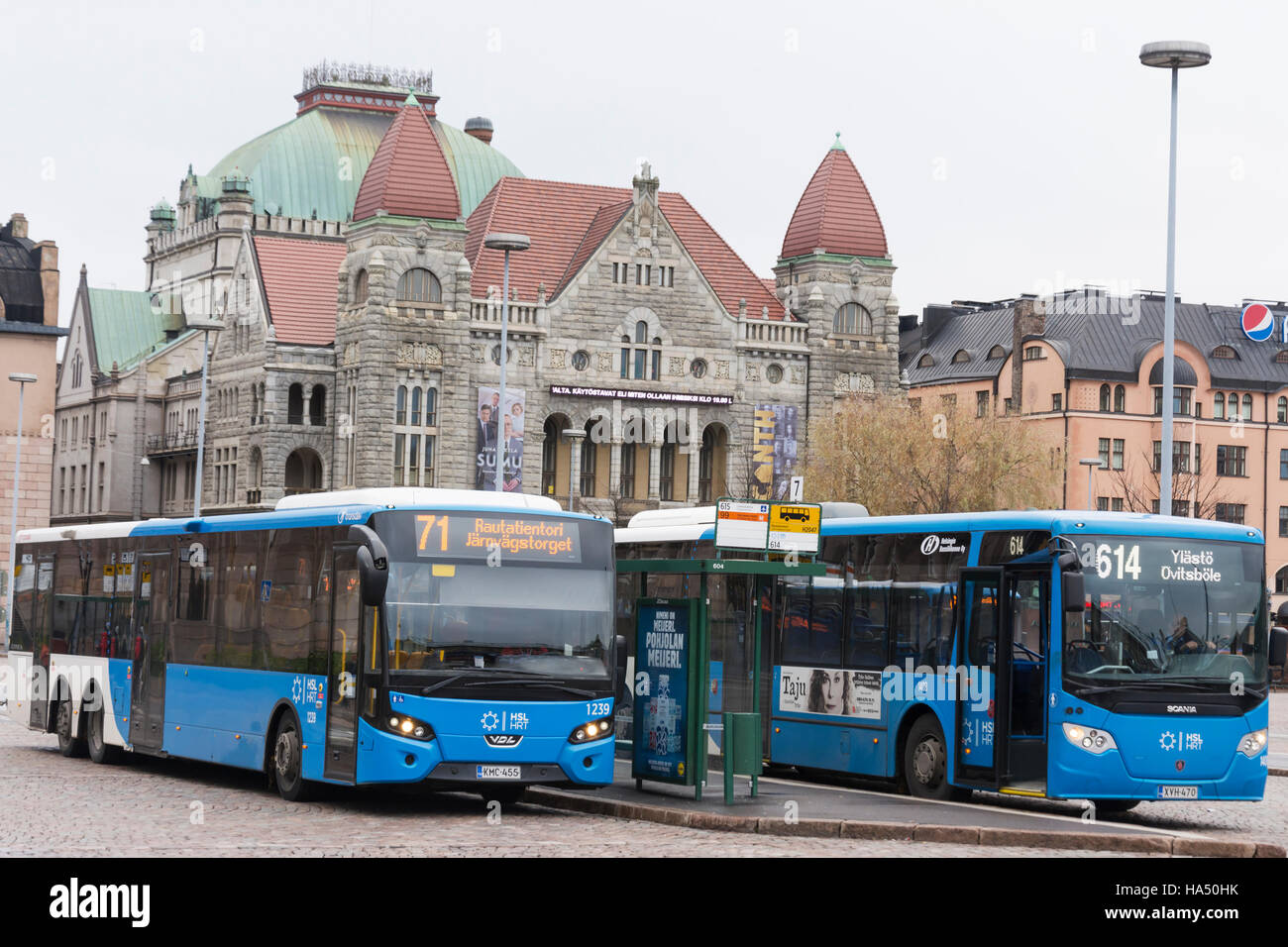 Buses ready to depart in Helsinki - Stock Image