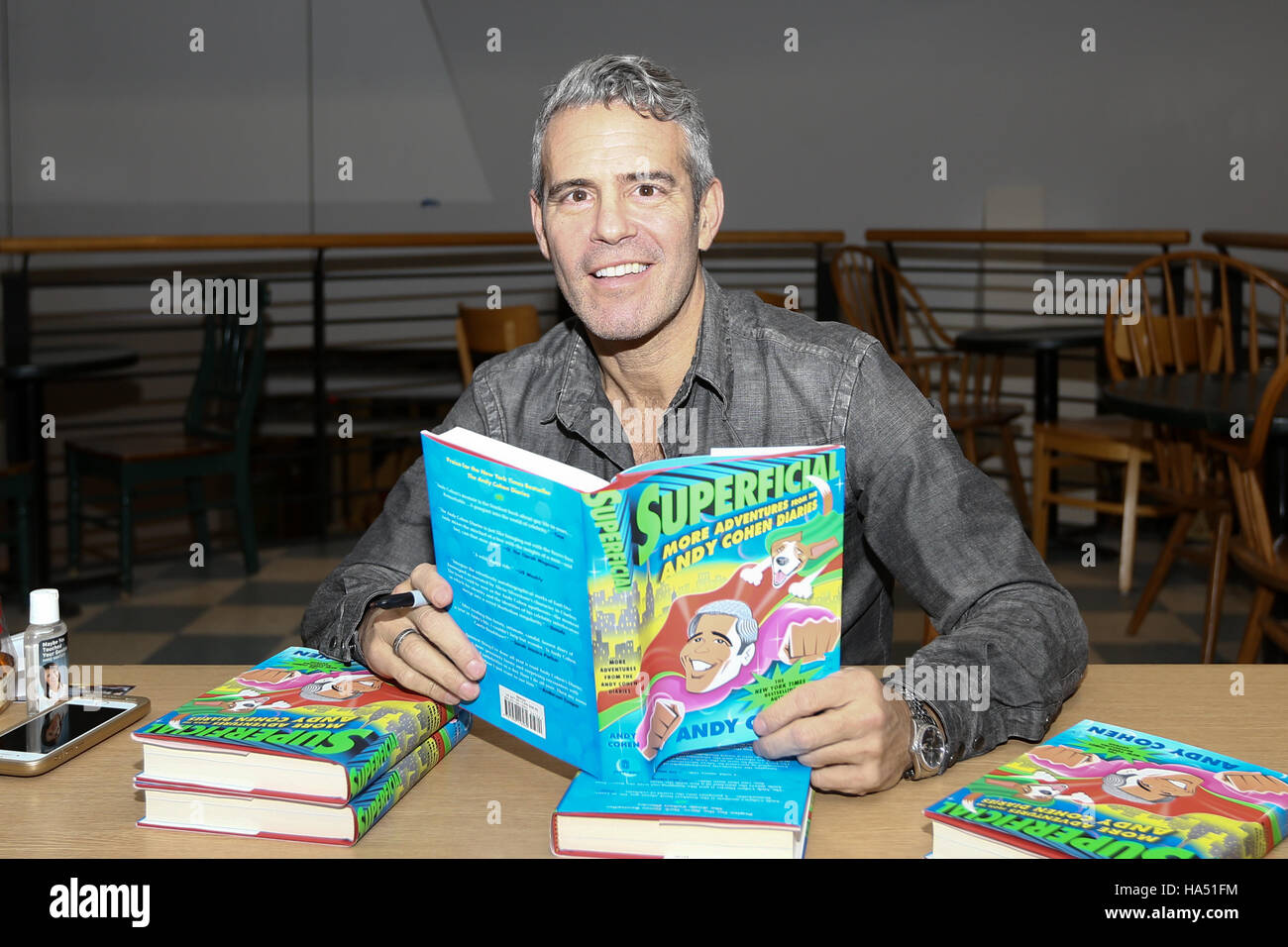 Andy Cohen signs copies of 'Superficial: More Adventures from the Andy Cohen Diaries' at Book Revue on November - Stock Image