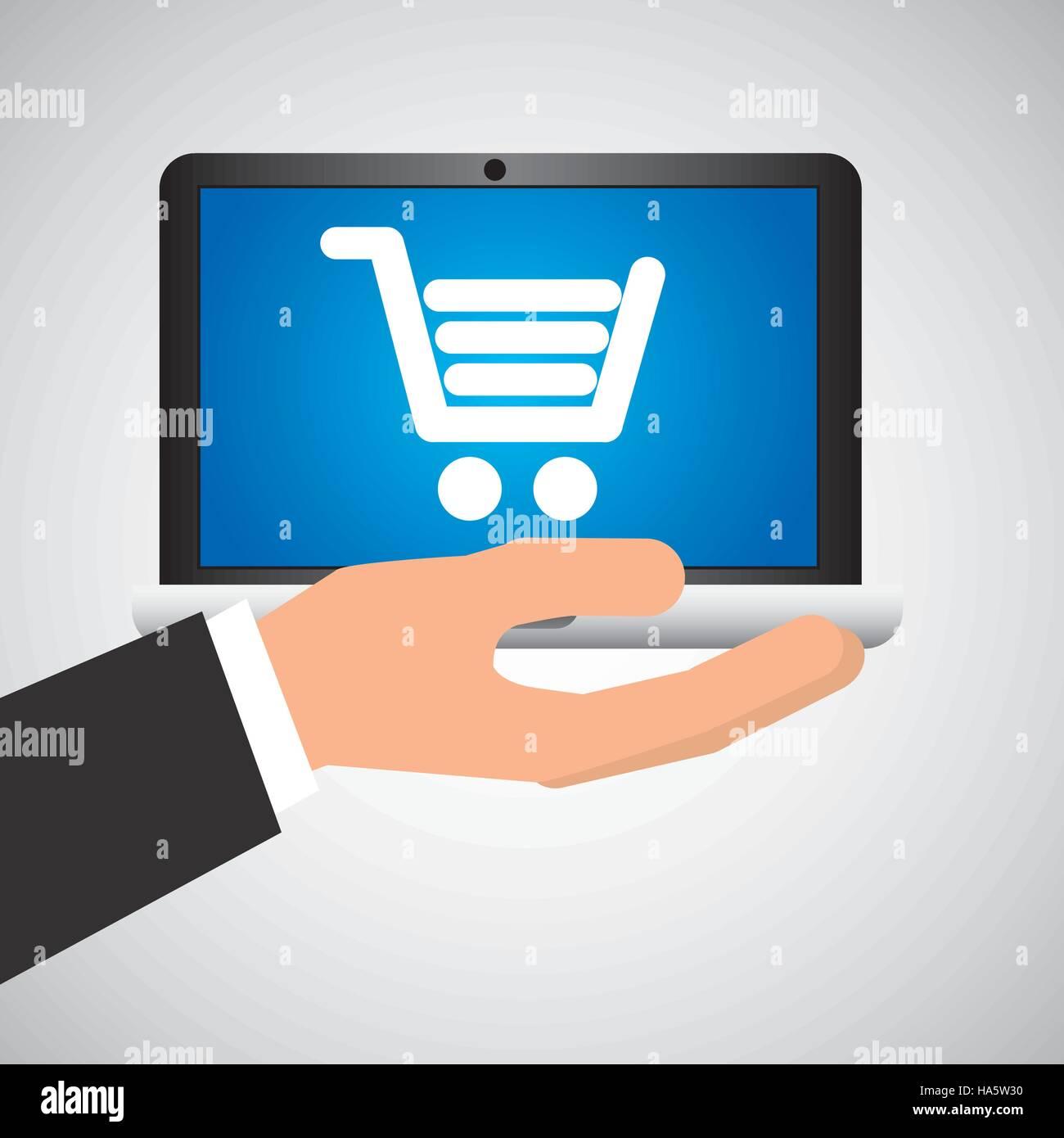 man hand holds laptop mobile shop cart media vector illustration - Stock Vector