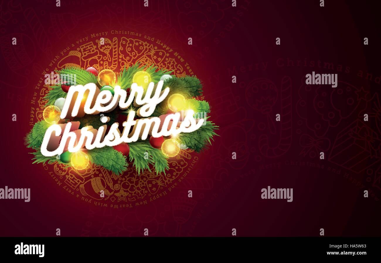 Vector Christmas Card Design Template 3d Merry Christmas Text On