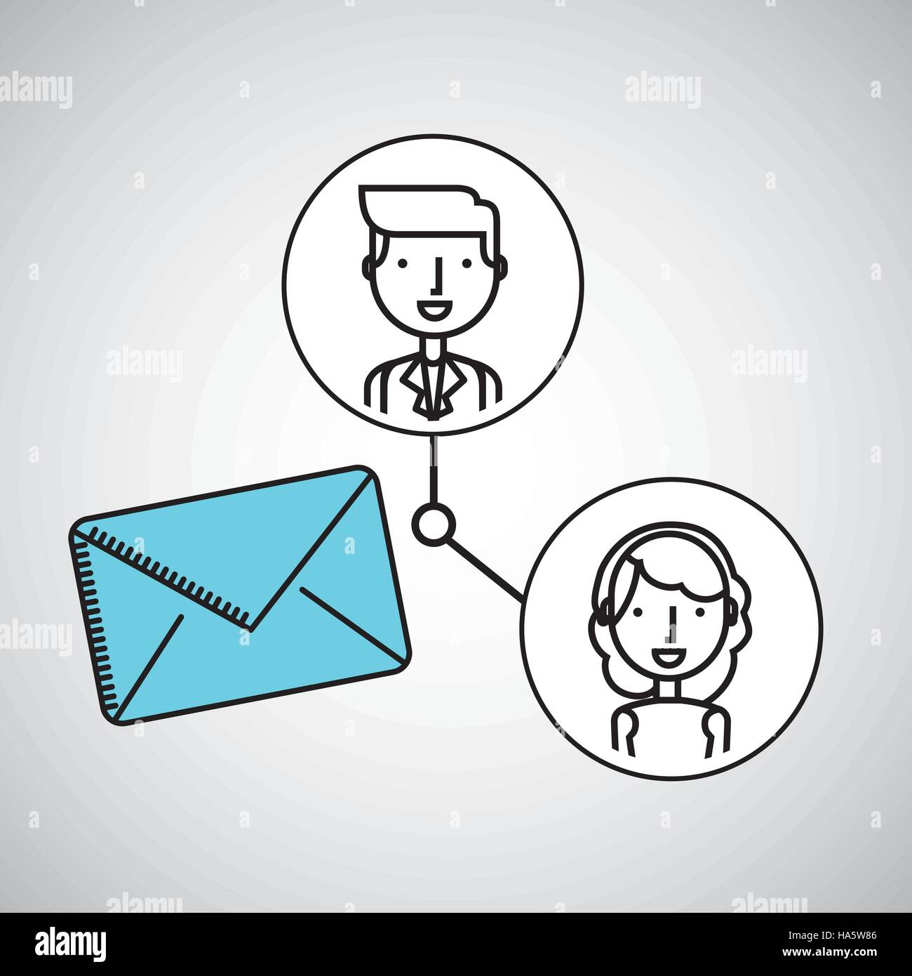 Boy And Girl Draw Message Social Media Vector Illustration Eps 10