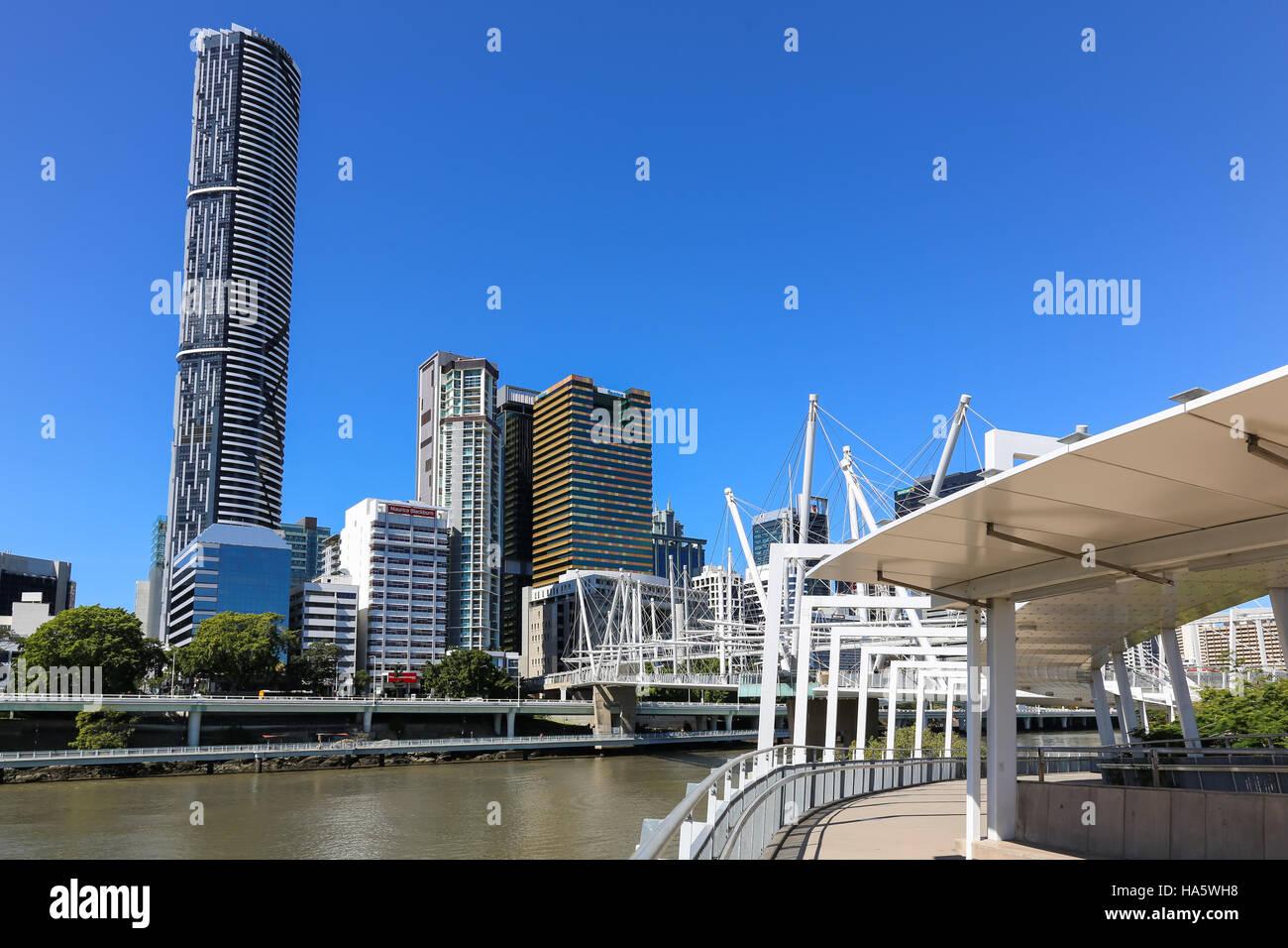 BRISBANE, AUSTRALIA - September 28, 2016: The Kurilpa footbridge links the Roma Street area of the CBD with Brisbane's - Stock Image