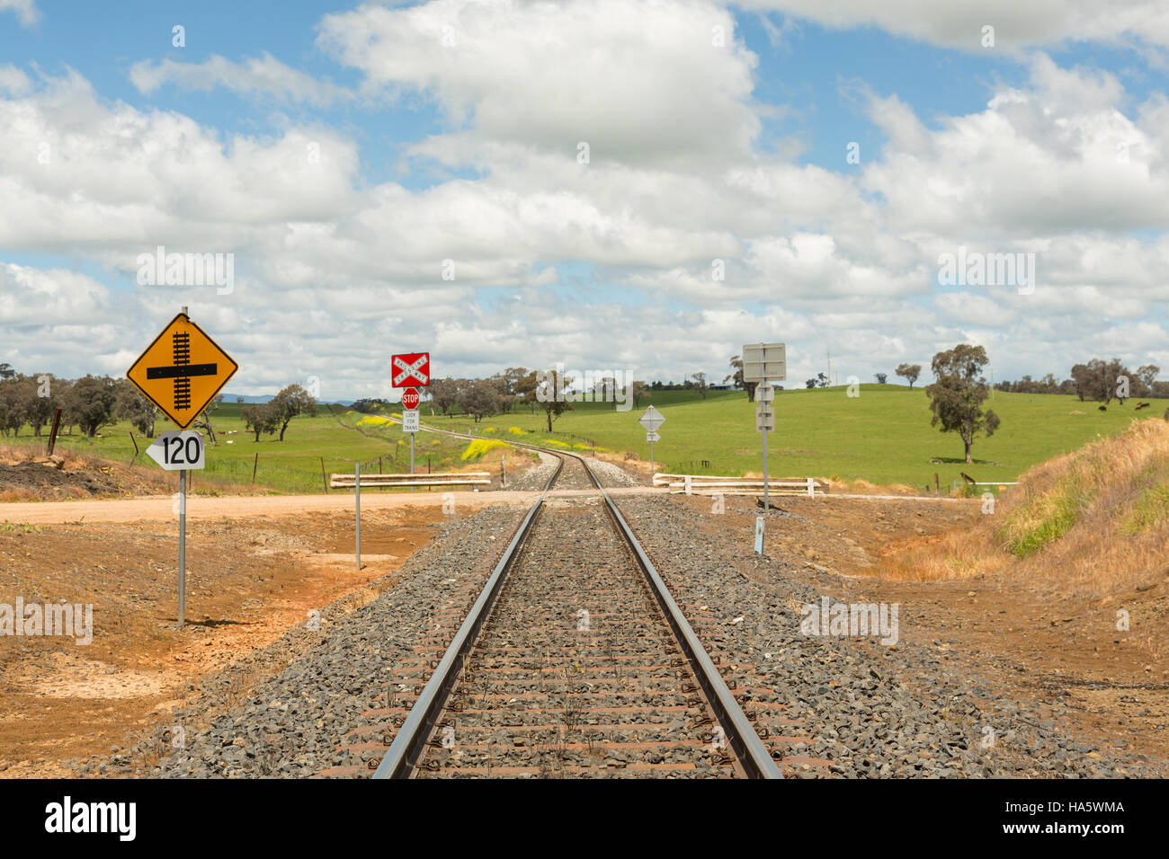 Railroad signs and tracks through Australian new South Wales landscape going to horizon, going forward into the - Stock Image