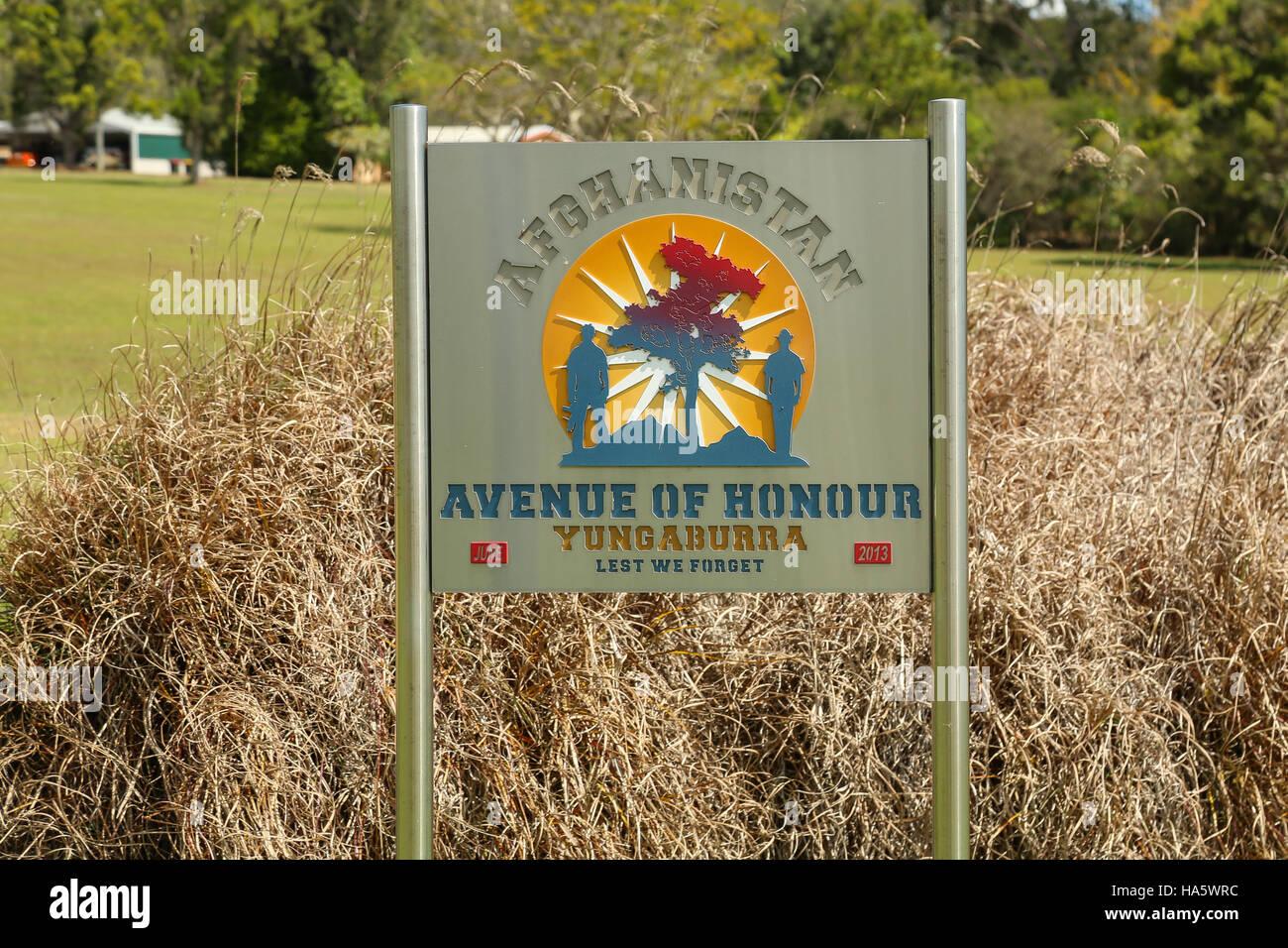 YUNGABURRA, AUSTRALIA - September 11, 2016: Afghanistan Avenue of Honour is a memorial dedicated to the memory of - Stock Image