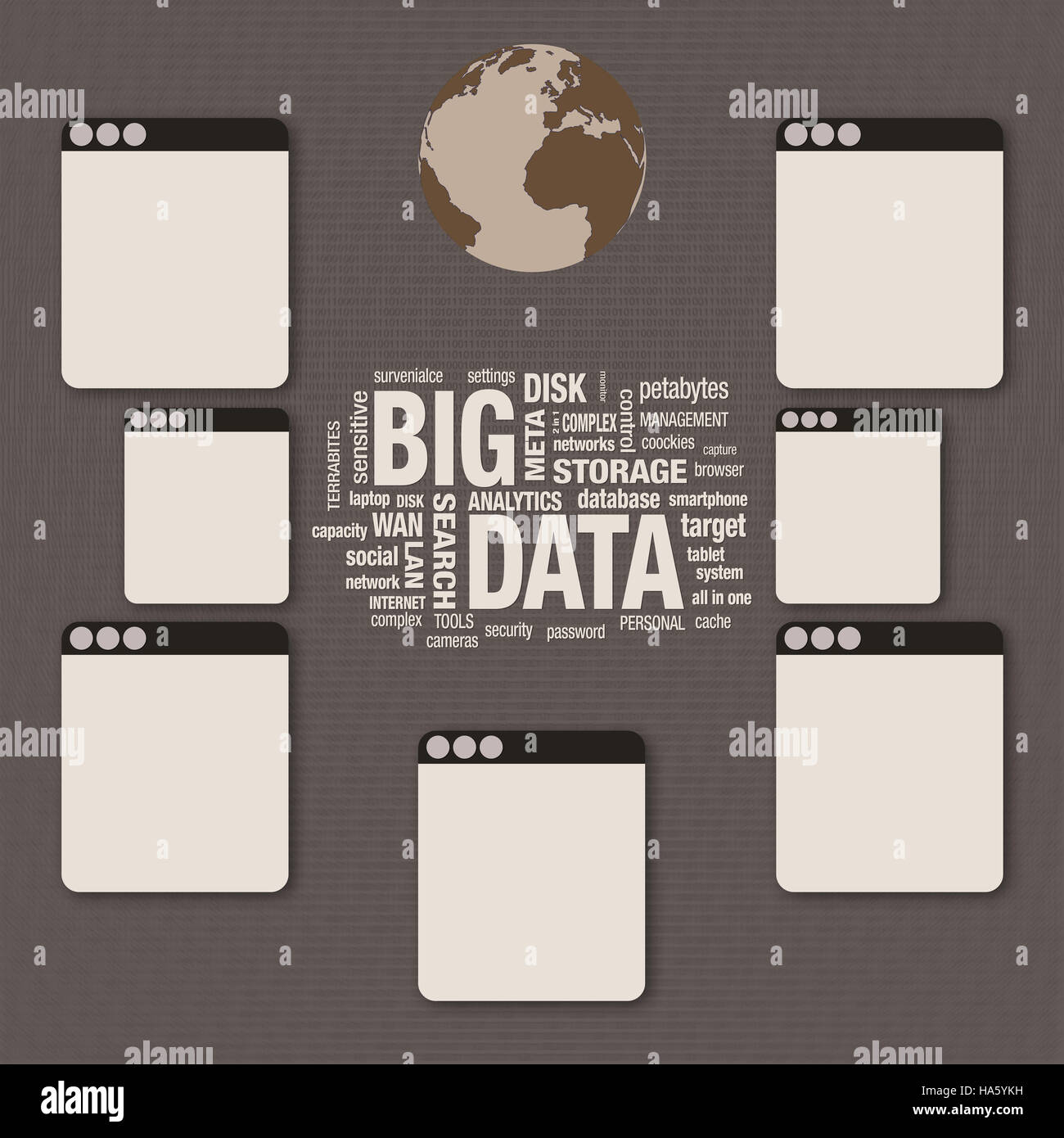 Big Data word cloud collage, technology concept, digital layer effect - Stock Image