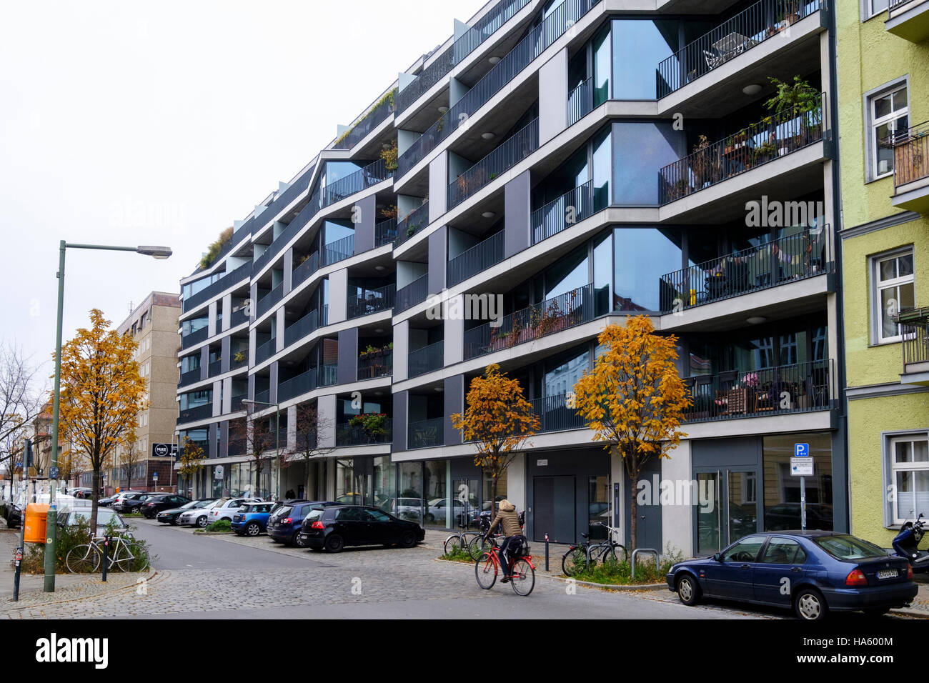 Modern luxury  residential apartment building development at Pettenkoferstrasse in Friedrichshain , Berlin, Germany - Stock Image