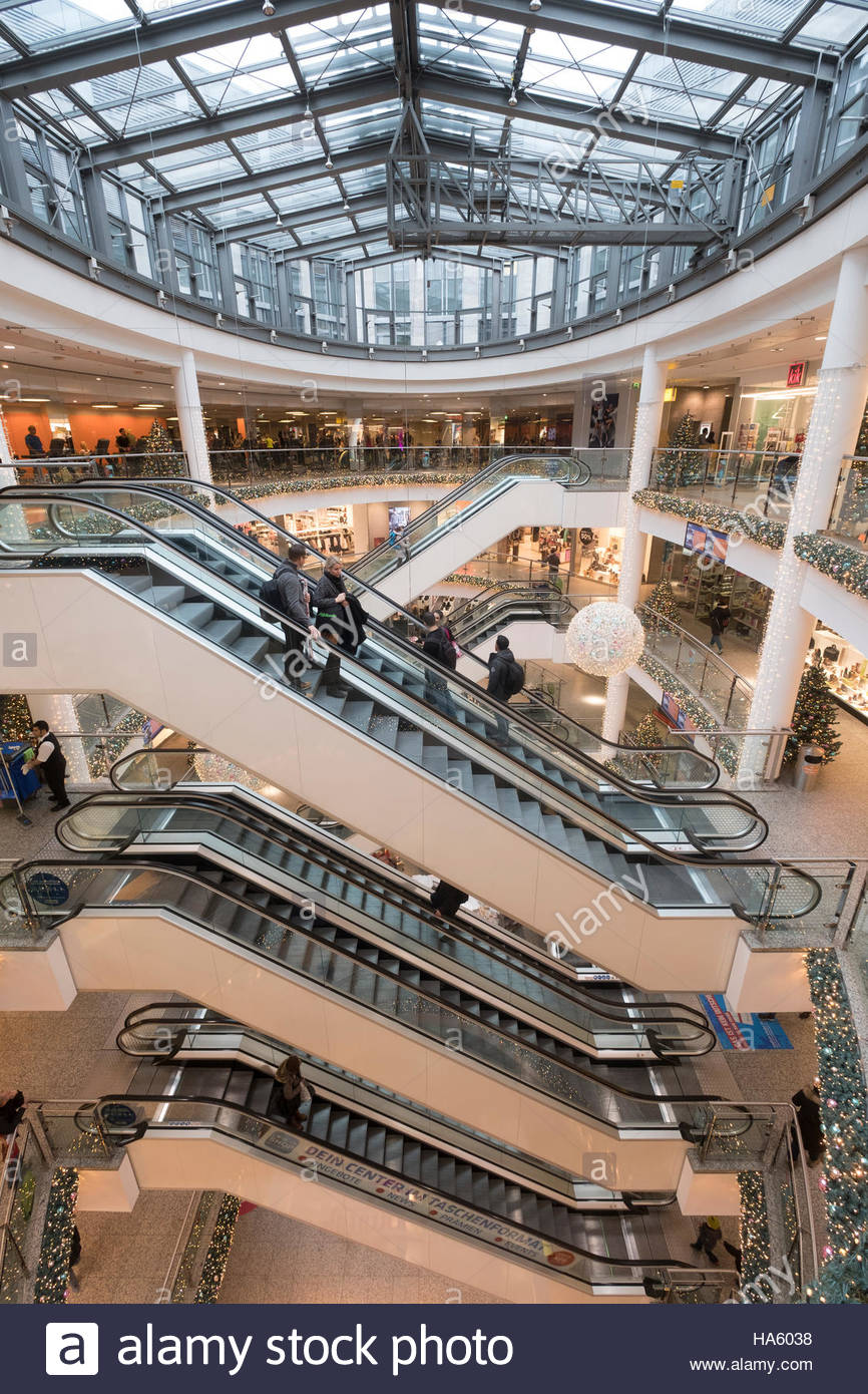 Interior of Ring Centre shopping mall in Friedrichshain district of Berlin Germany - Stock Image