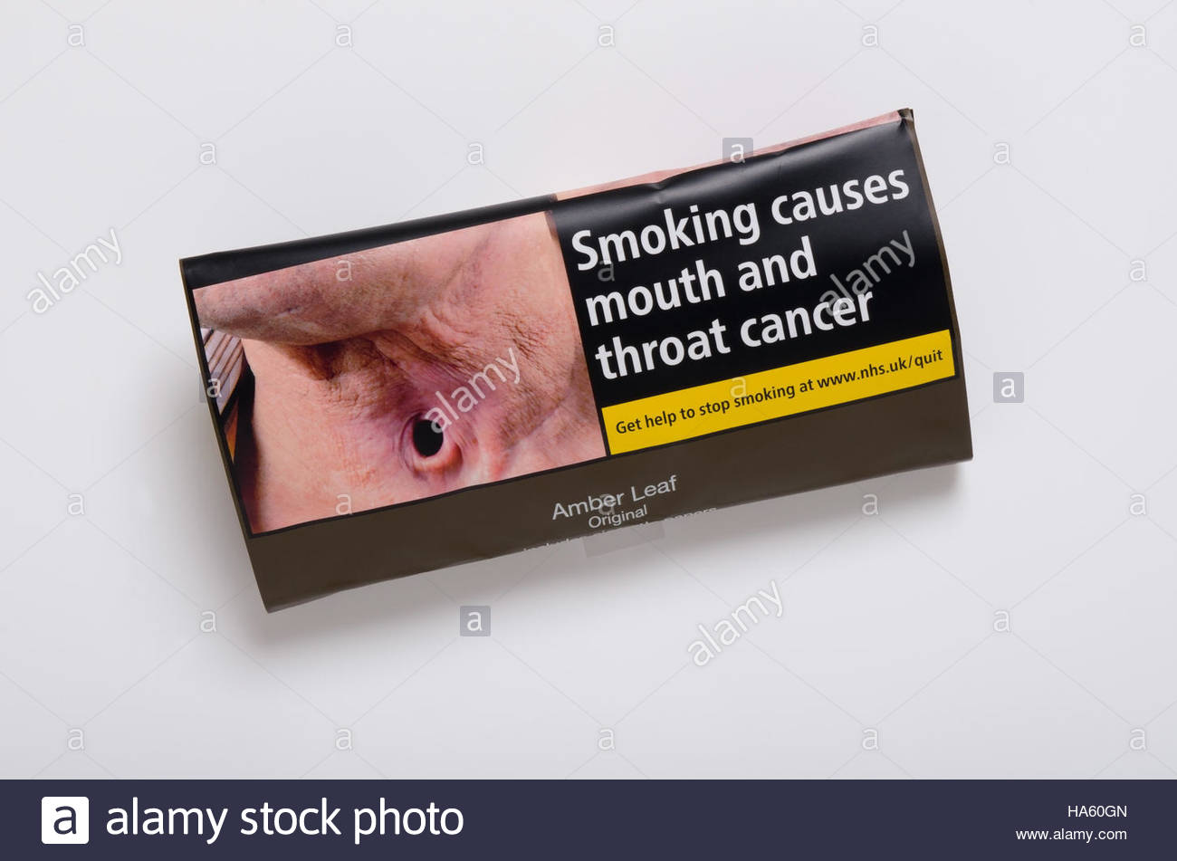 Packet of Amber Leaf smoking tobacco 30g New standardised plain tobacco and cigarettes packaging introduced in the - Stock Image
