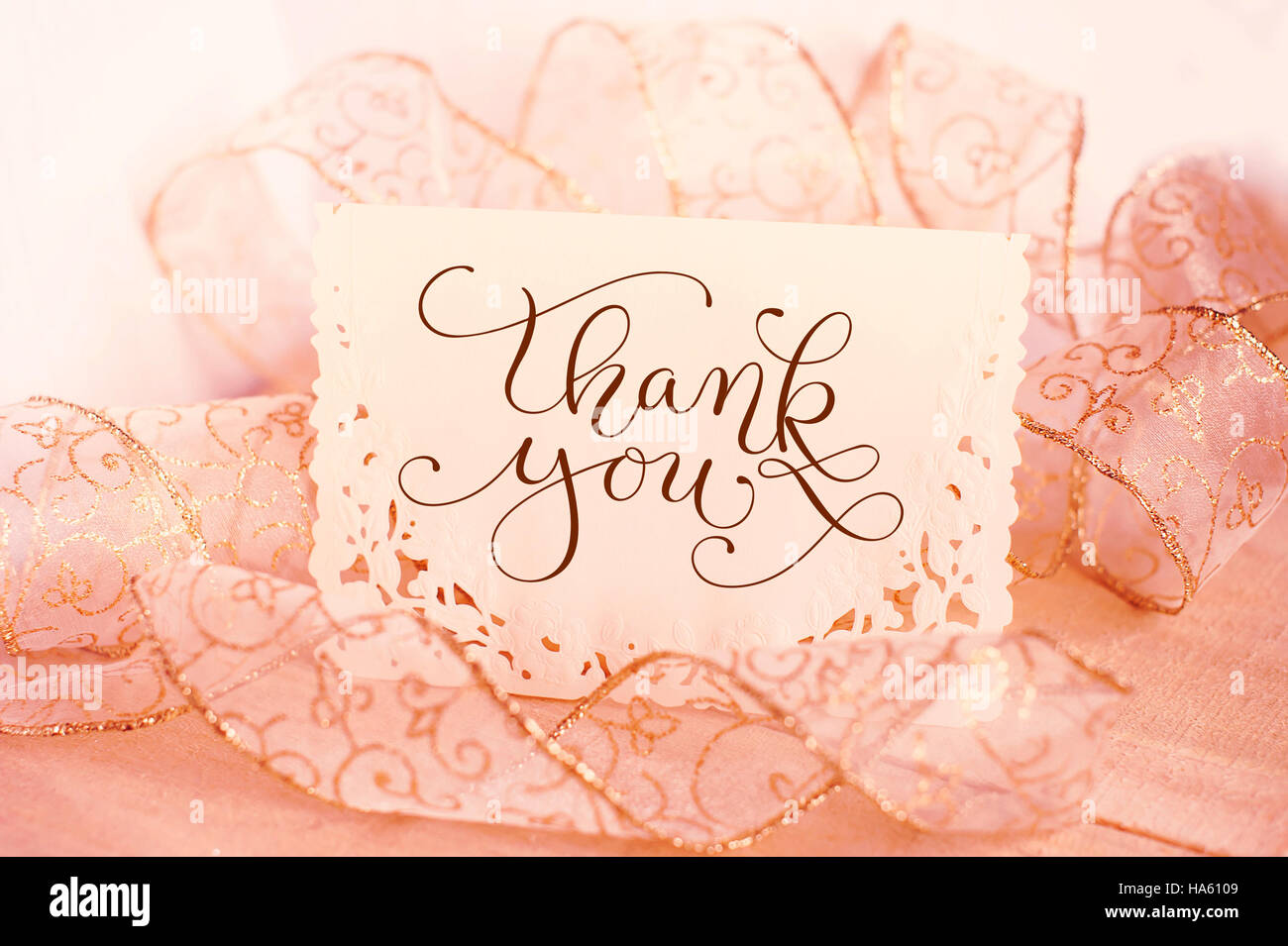 Greeting Card For The Holiday With Text Thank You Calligraphy Stock
