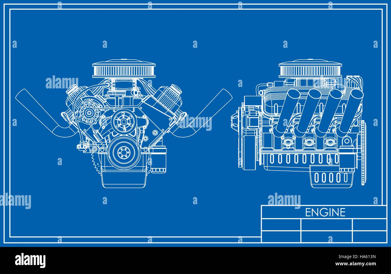 Aluminium Engine Block Stock Photos V8 Diagram Hot Rod Drawing Image