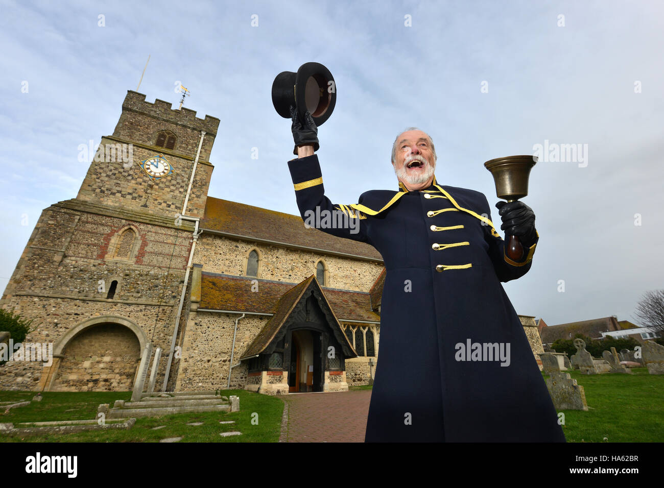 Town crier at work - Peter White from Seaford, been a crier for 40 years - Stock Image