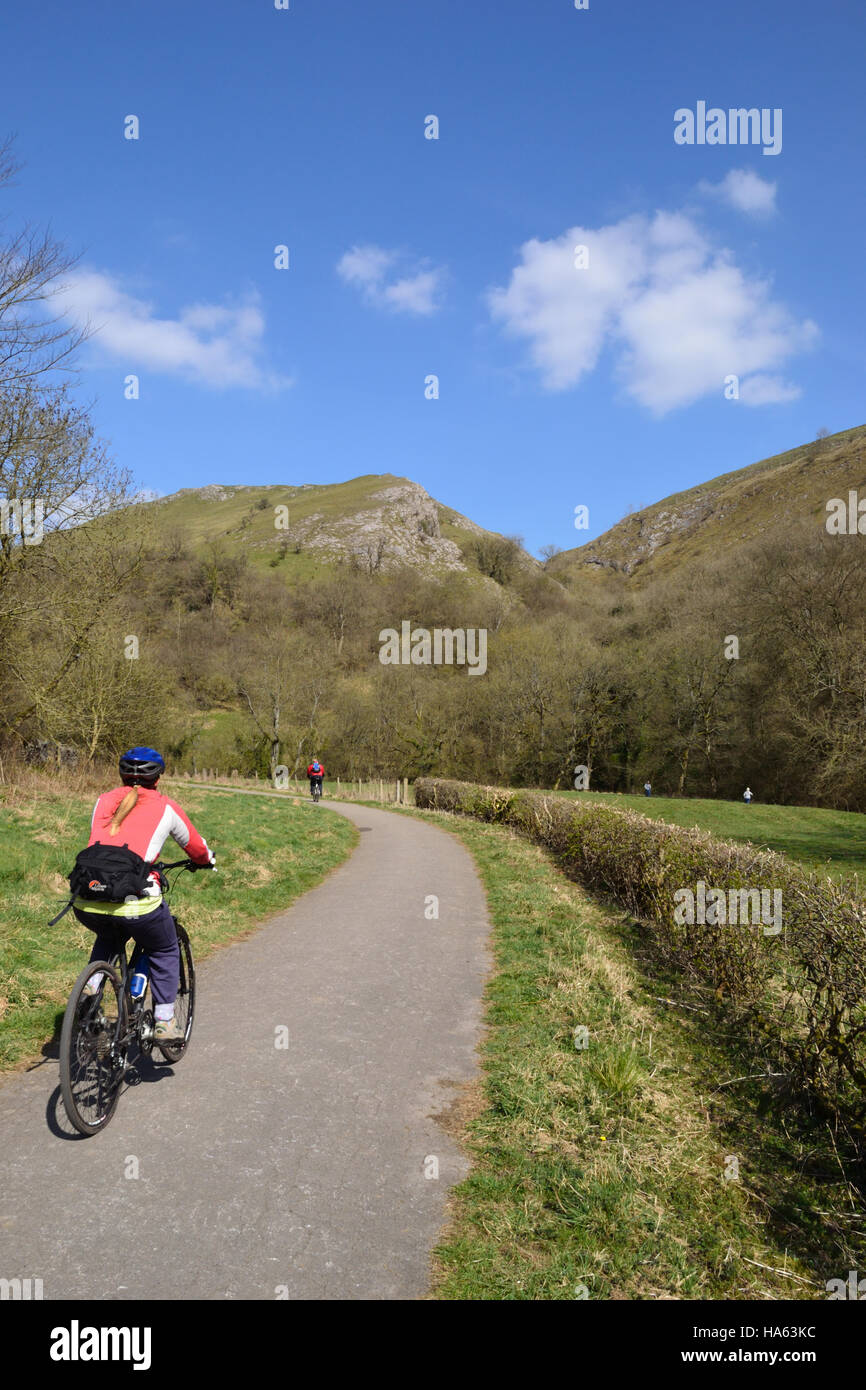 Cyclist on the Manifold Trail beside the River Manifold in the Peak District National Park, Staffordshire. Stock Photo