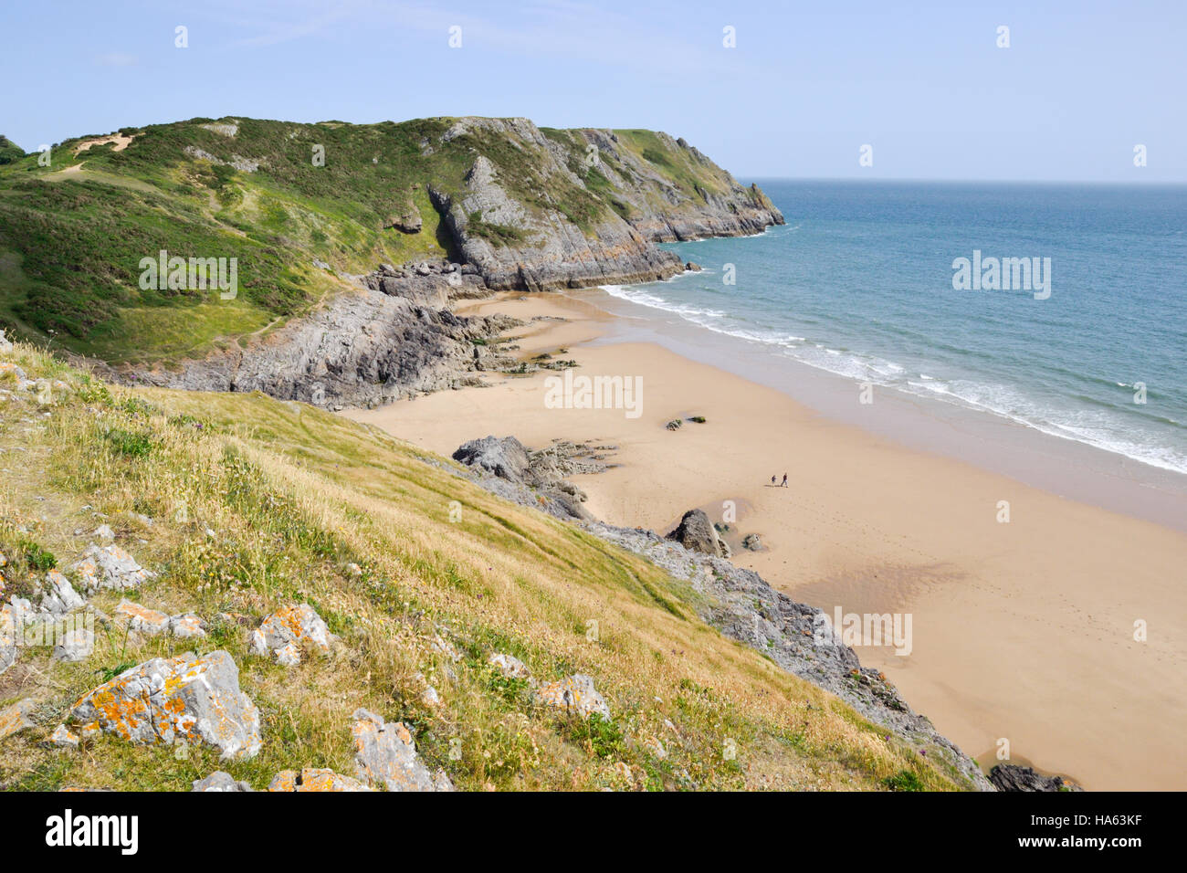 Pobbles Bay on the east side of Three Cliffs Bay on Gower Peninsular in Wales Stock Photo
