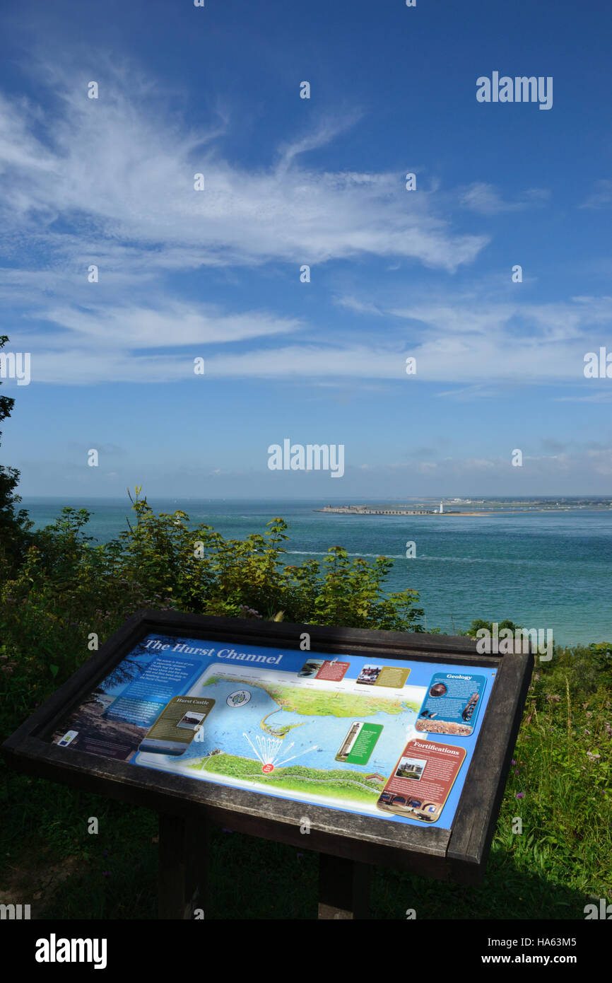 Information point overlooking Hurst Channel and Hurst Castle, The Solent, Isle of Wight. Stock Photo