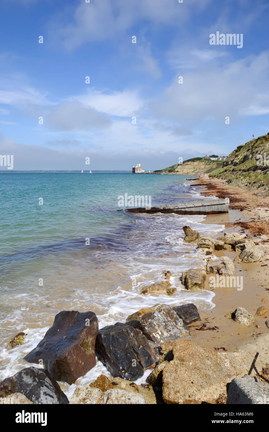 Colwell Bay on the Isle of Wight looking towards Fort Albert Stock Photo