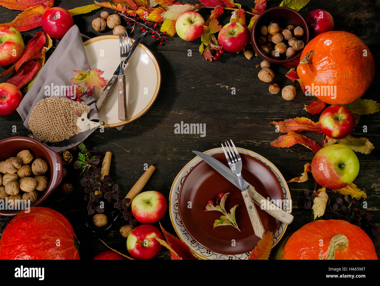 Autumn table setting with fruits and nuts. Flat lay & Autumn table setting with fruits and nuts. Flat lay Stock Photo ...